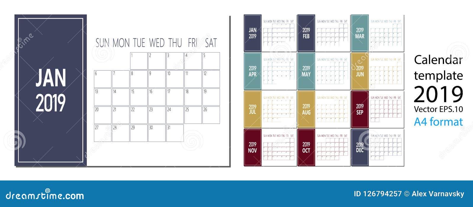 Vetor do calendário do ano 2019 novo no estilo simples da tabela mínima limpa e no tamanho azul da cor A4
