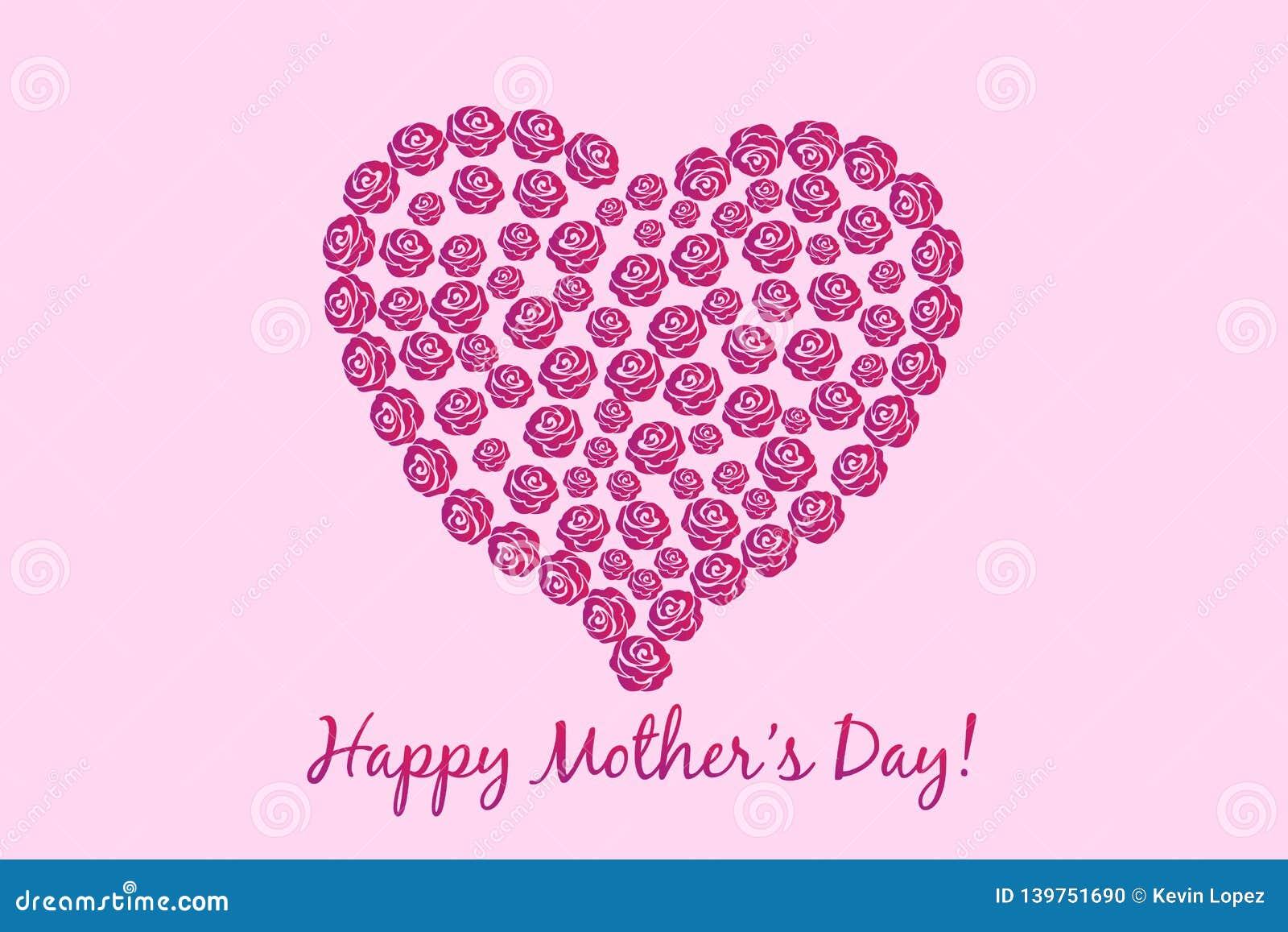 Vetor do cartão do coração da flor do dia de mães