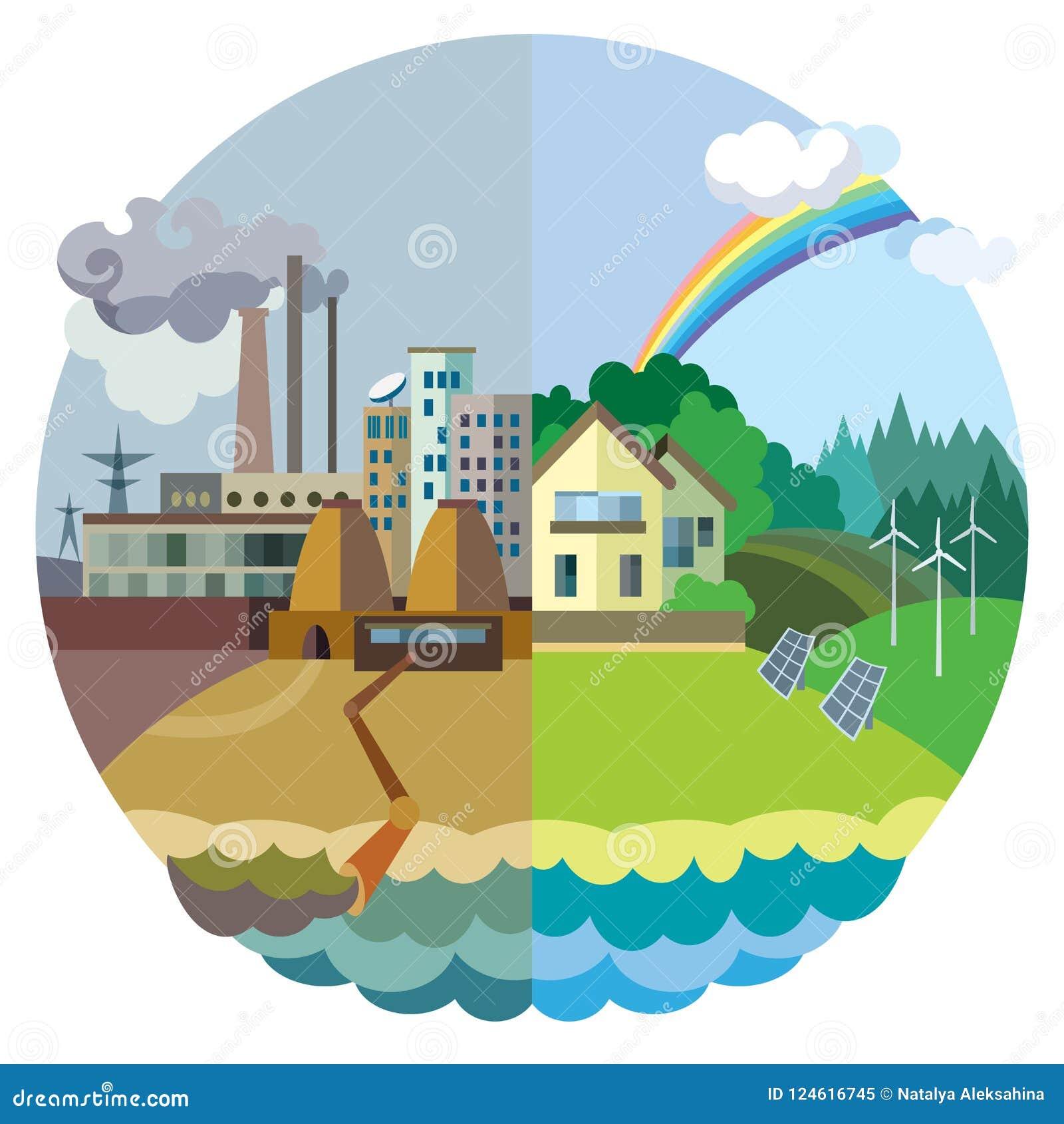 Vetor do conceito da ecologia: paisagem urbana e da vila