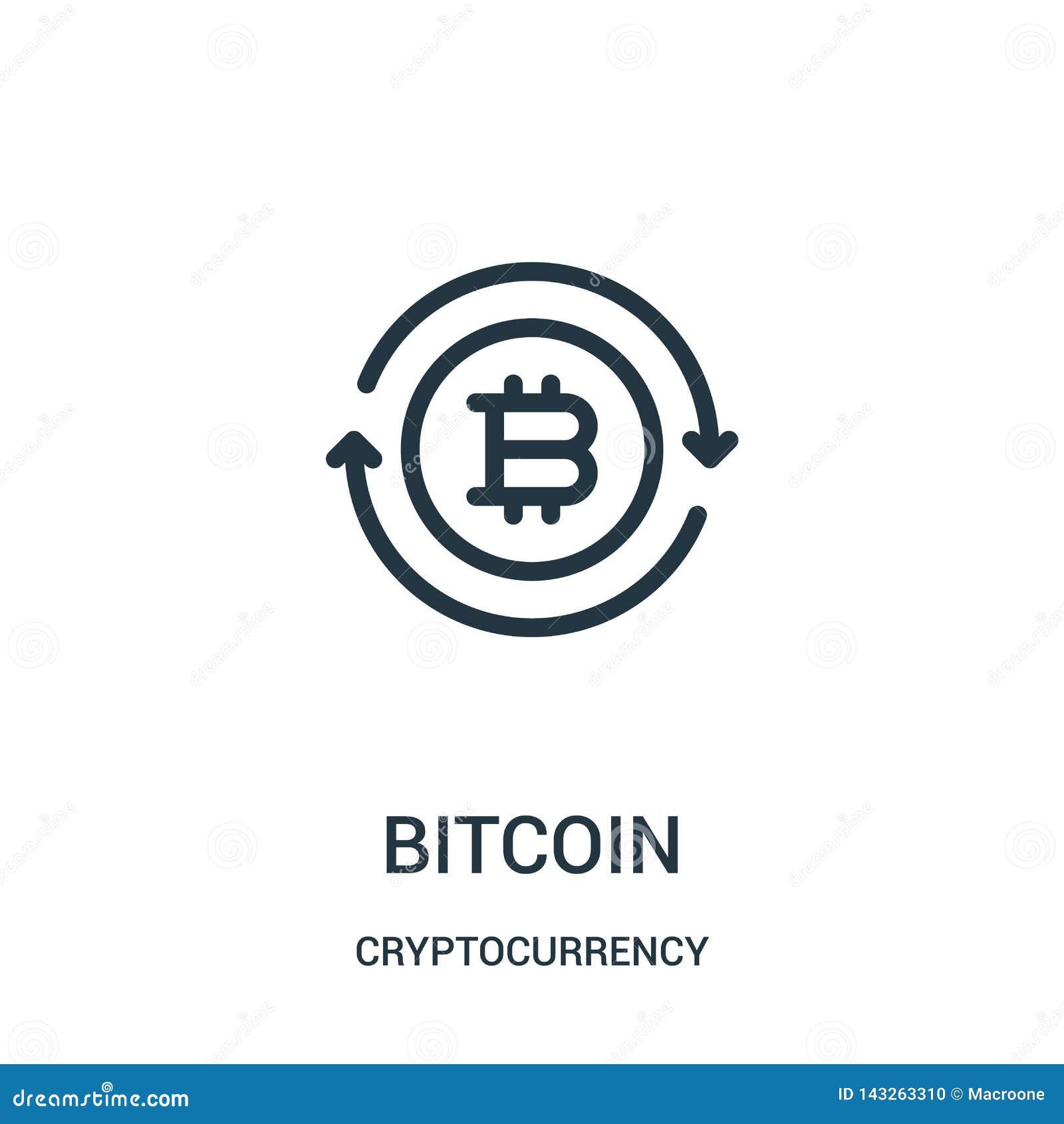Vetor do ?cone do bitcoin da cole??o do cryptocurrency Linha fina ilustra??o do vetor do ?cone do esbo?o do bitcoin
