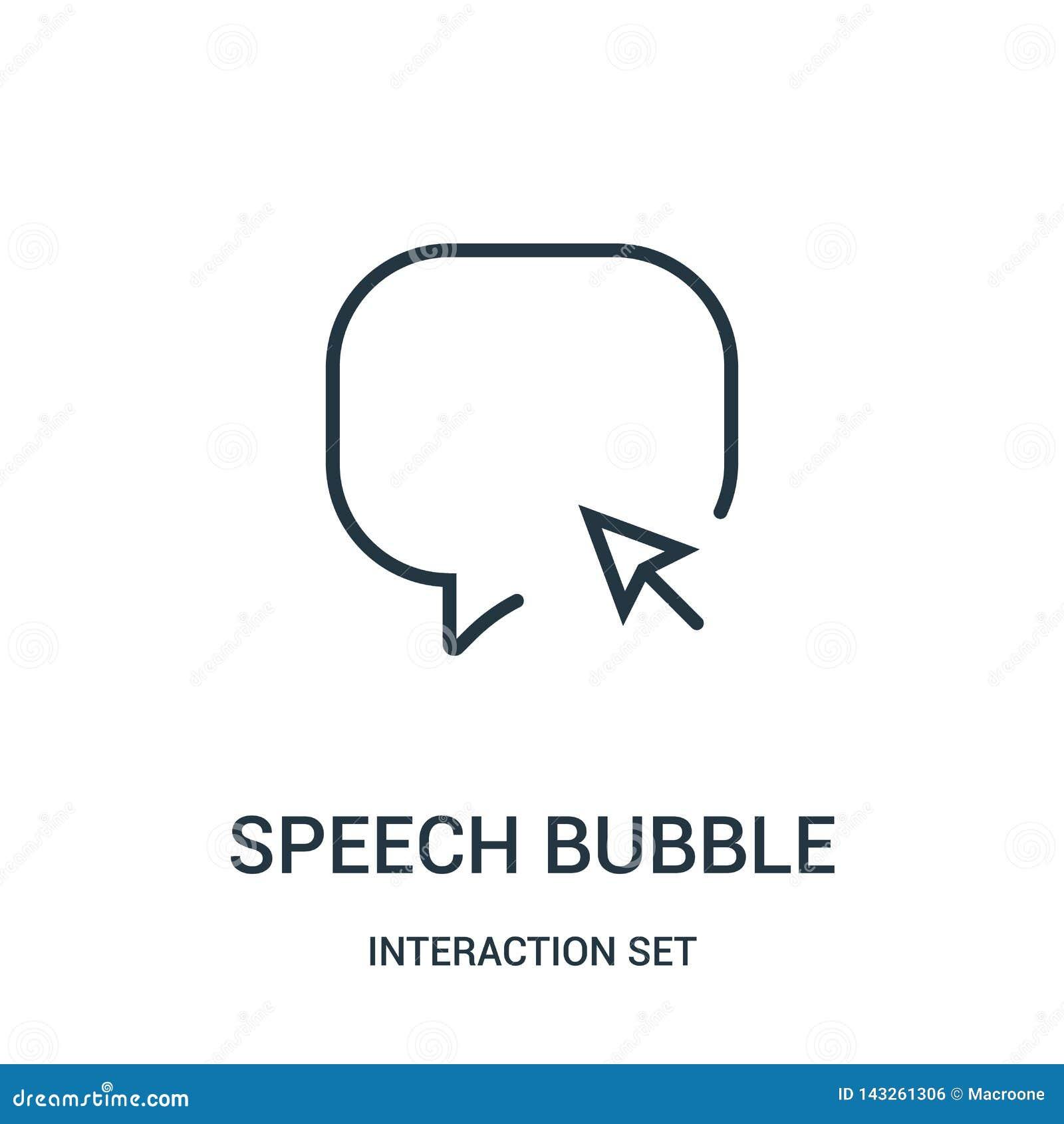 Vetor do ?cone da bolha do discurso da cole??o do grupo da intera??o Linha fina ilustra??o do vetor do ?cone do esbo?o da bolha d