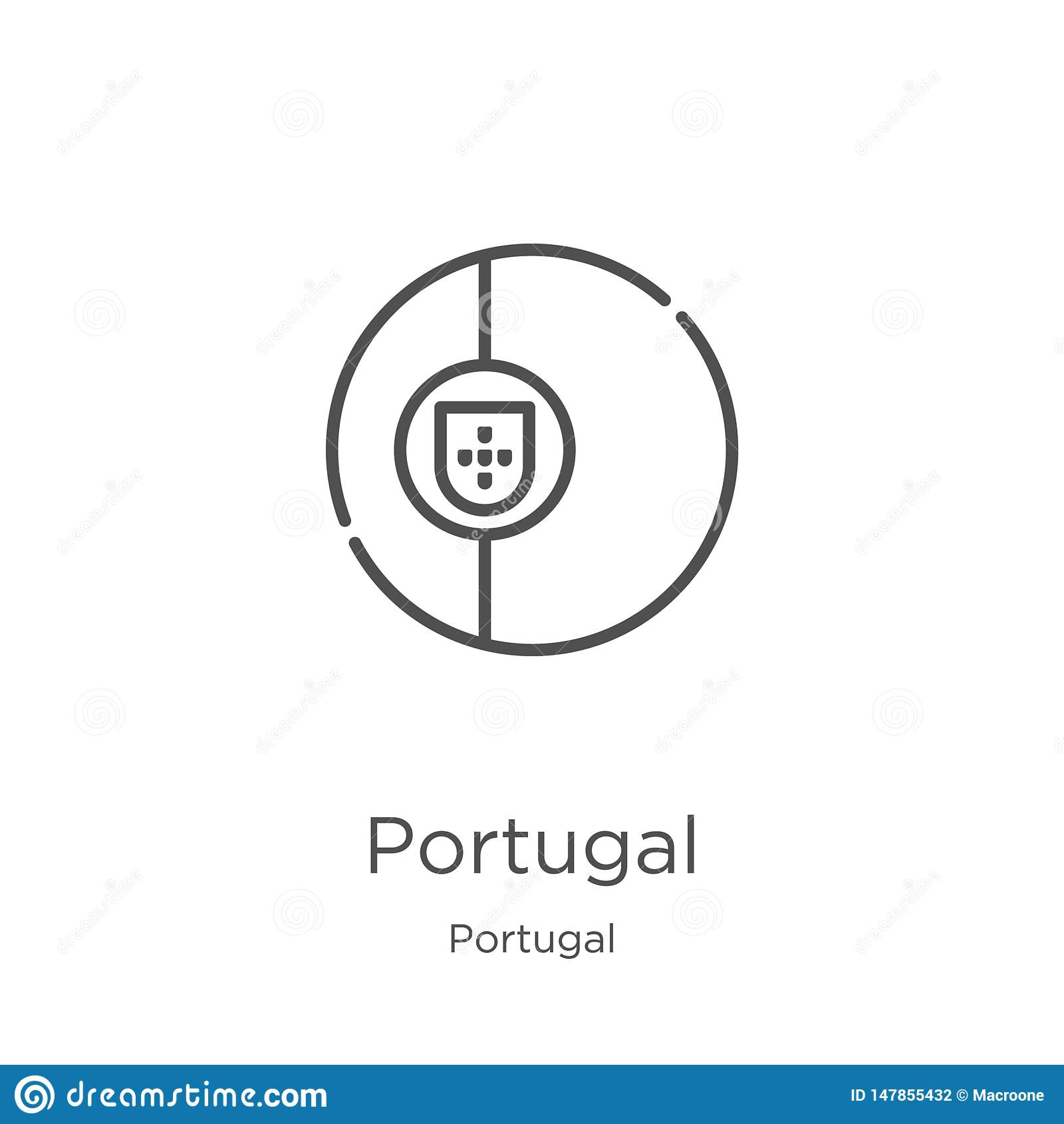 Vetor do ?cone de Portugal da cole??o de Portugal Linha fina ilustra??o do vetor do ?cone do esbo?o de Portugal Esbo?o, linha fin