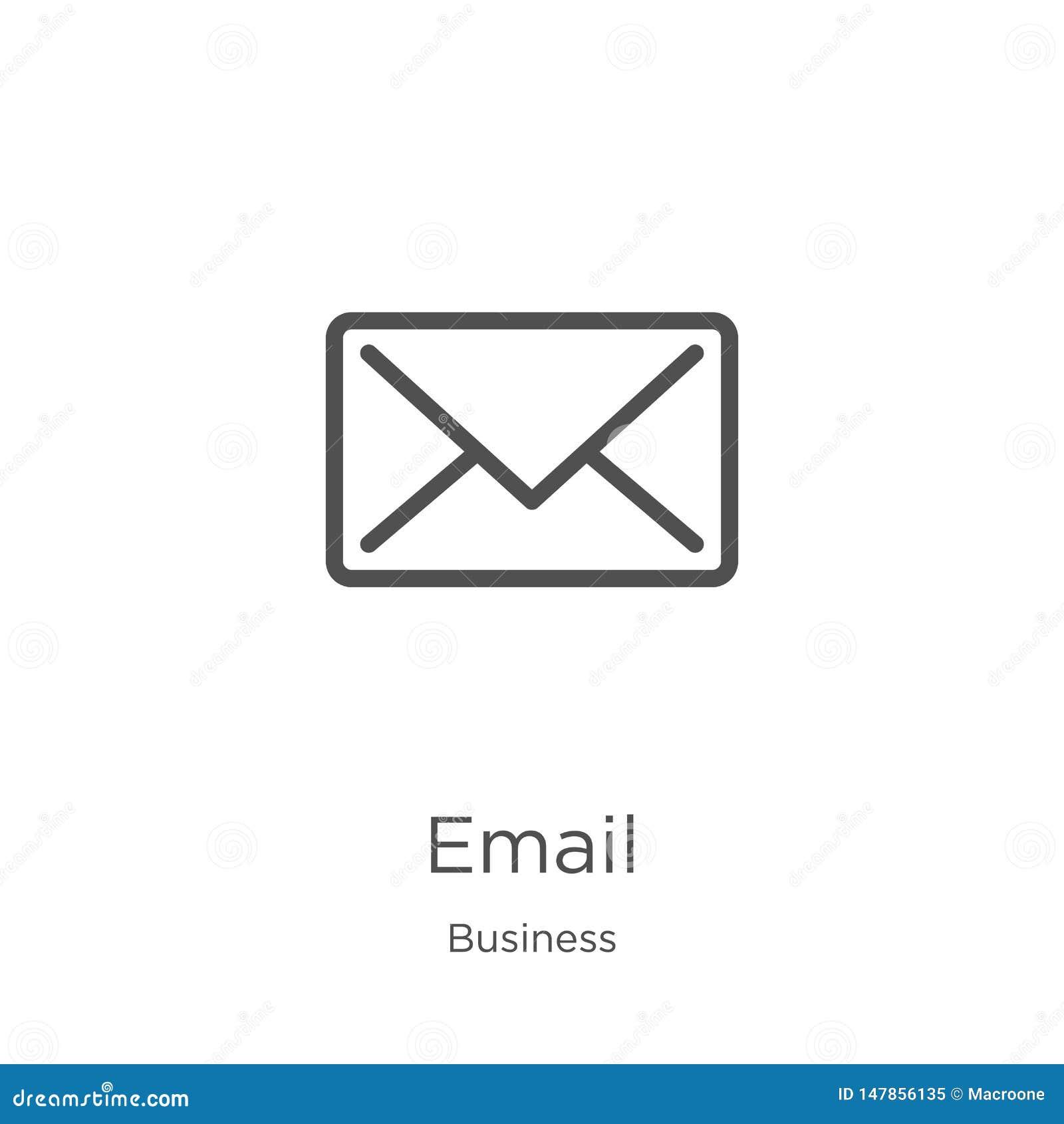 Vetor do ?cone do e-mail da cole??o do neg?cio Linha fina ilustra??o do vetor do ?cone do esbo?o do e-mail Esbo?o, linha fina ?co