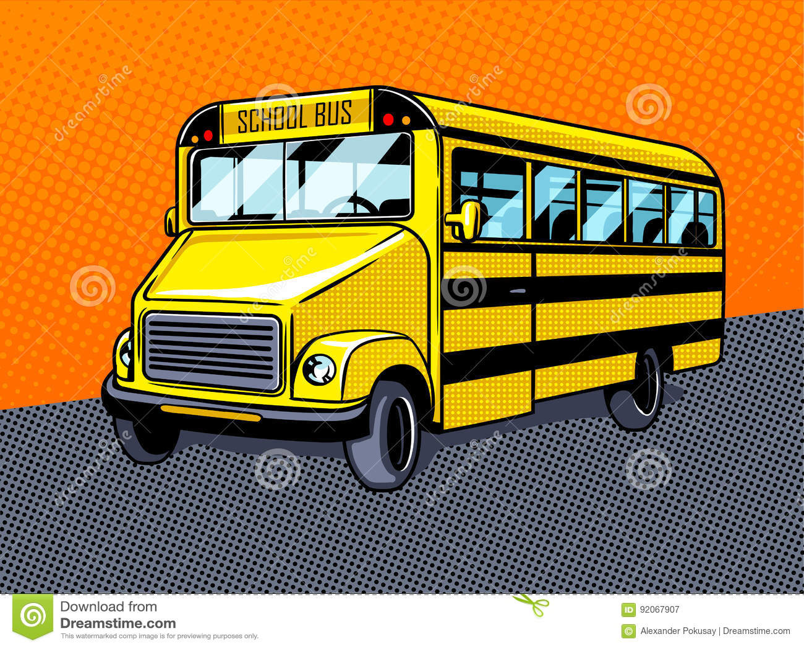 Vetor do estilo do pop art do ônibus escolar