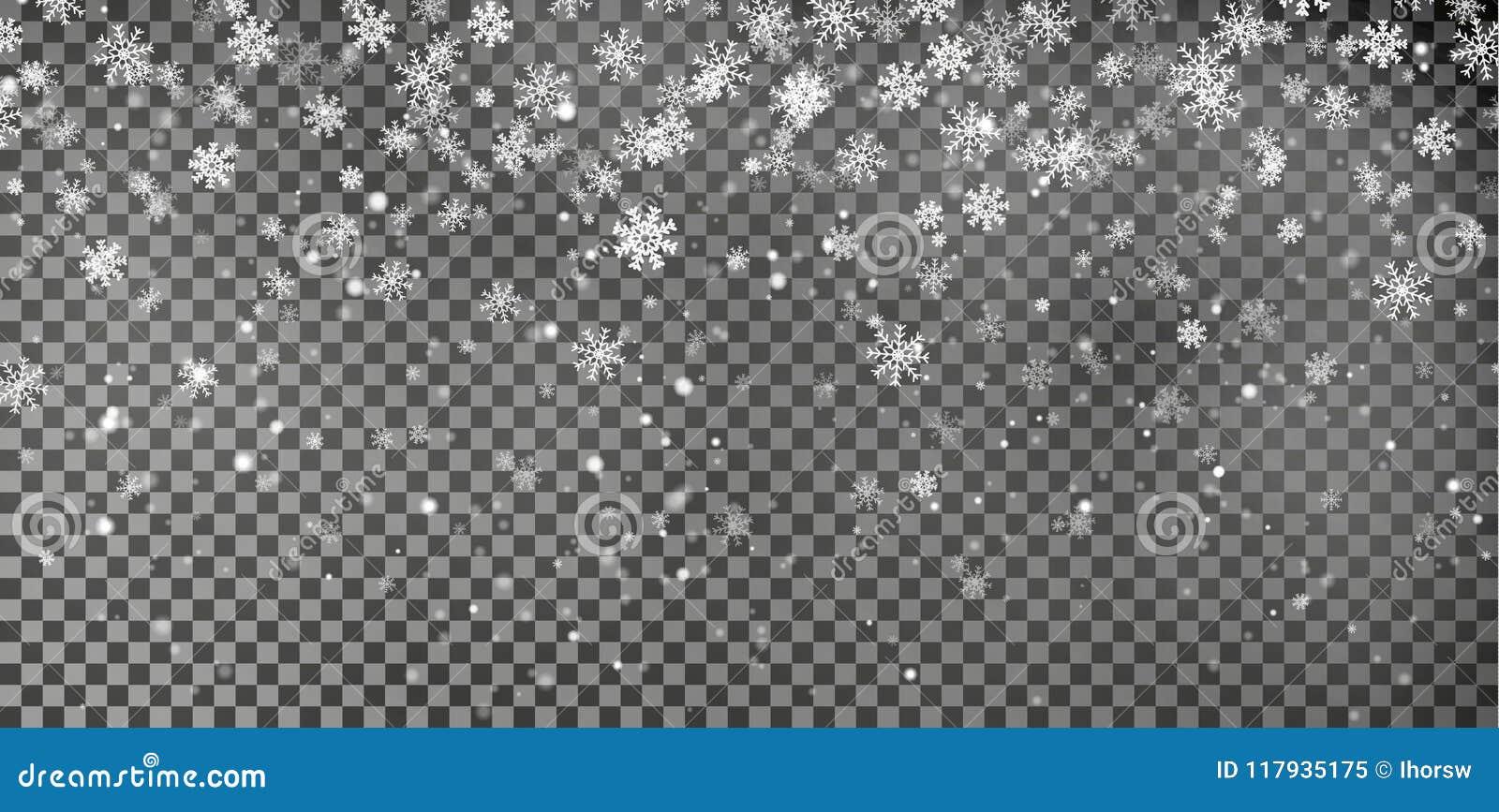 Vetor do fundo do floco de neve Efeito da decoração da queda da neve do Natal Teste padrão transparente