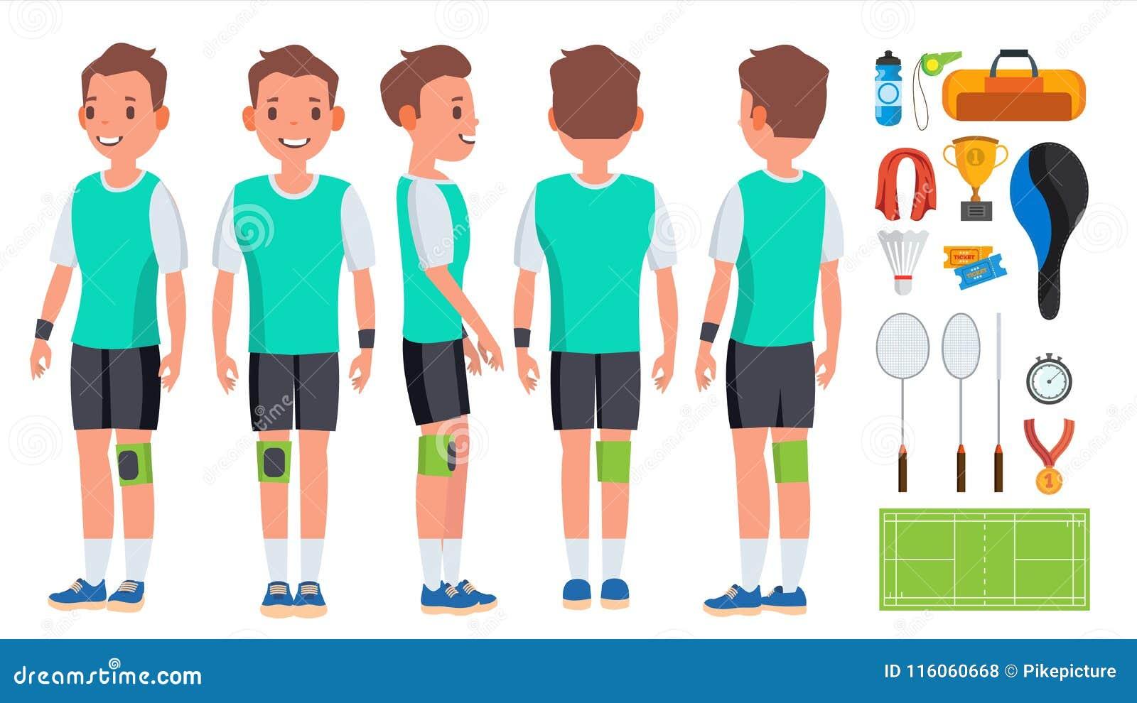 Vetor do jogador do homem novo do badminton Jogo do movimento Ação da velocidade Homem Atleta liso Cartoon Illustration