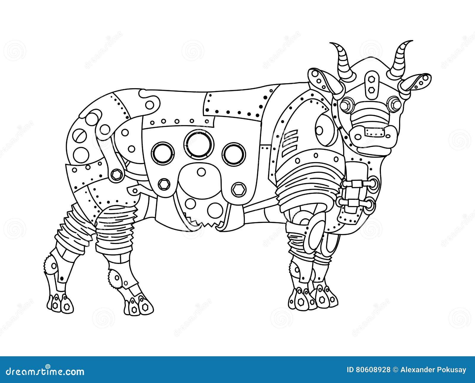 vetor do livro para colorir do touro do estilo de steampunk