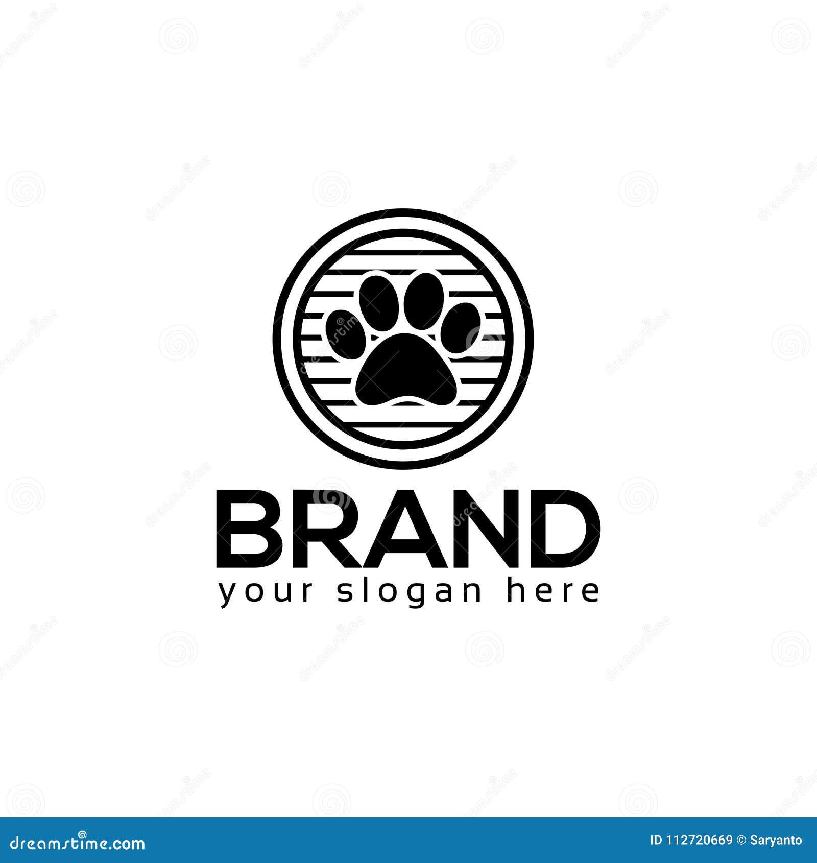 Vetor do logotipo das patas do cão Projeto liso do logotipo