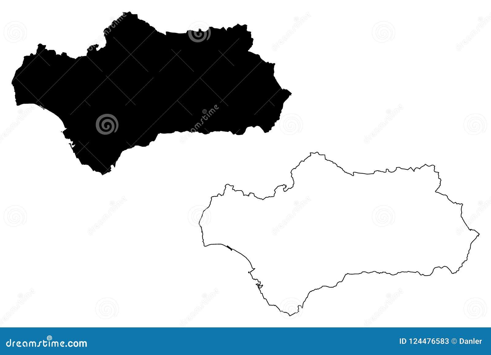 Vetor Do Mapa Da Andaluzia Ilustracao Do Vetor Ilustracao De Pais