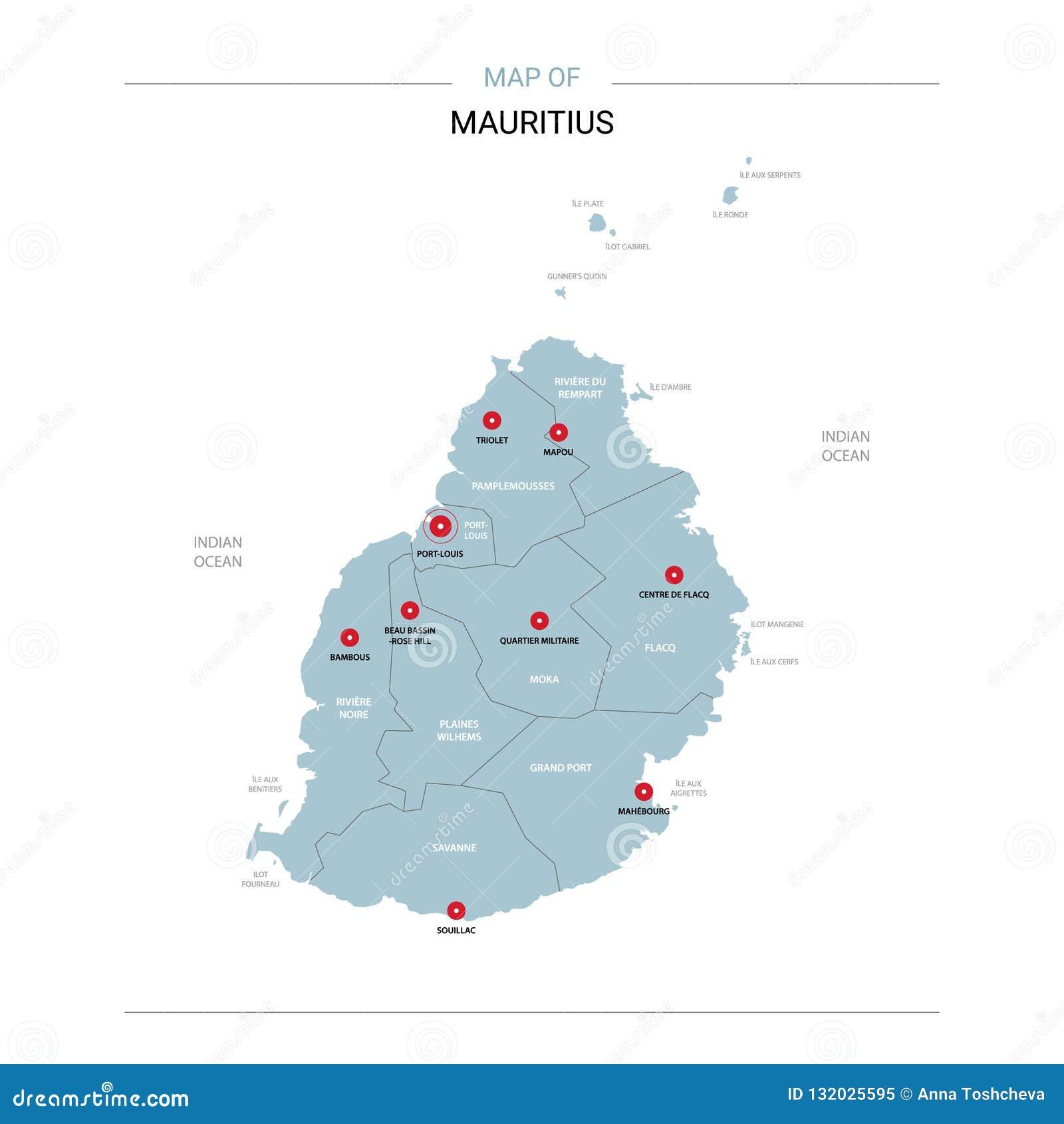 Vetor do mapa de Maurícias com pino vermelho