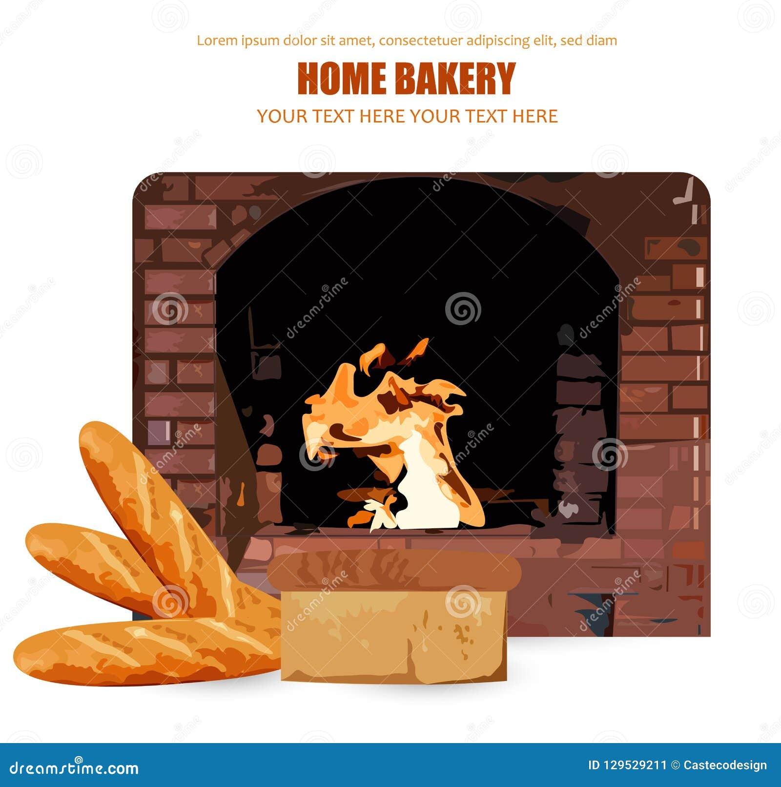 Vetor do pão caseiro Chama de queimadura do forno do tijolo no fundo Ilustrações do cartaz da padaria da casa