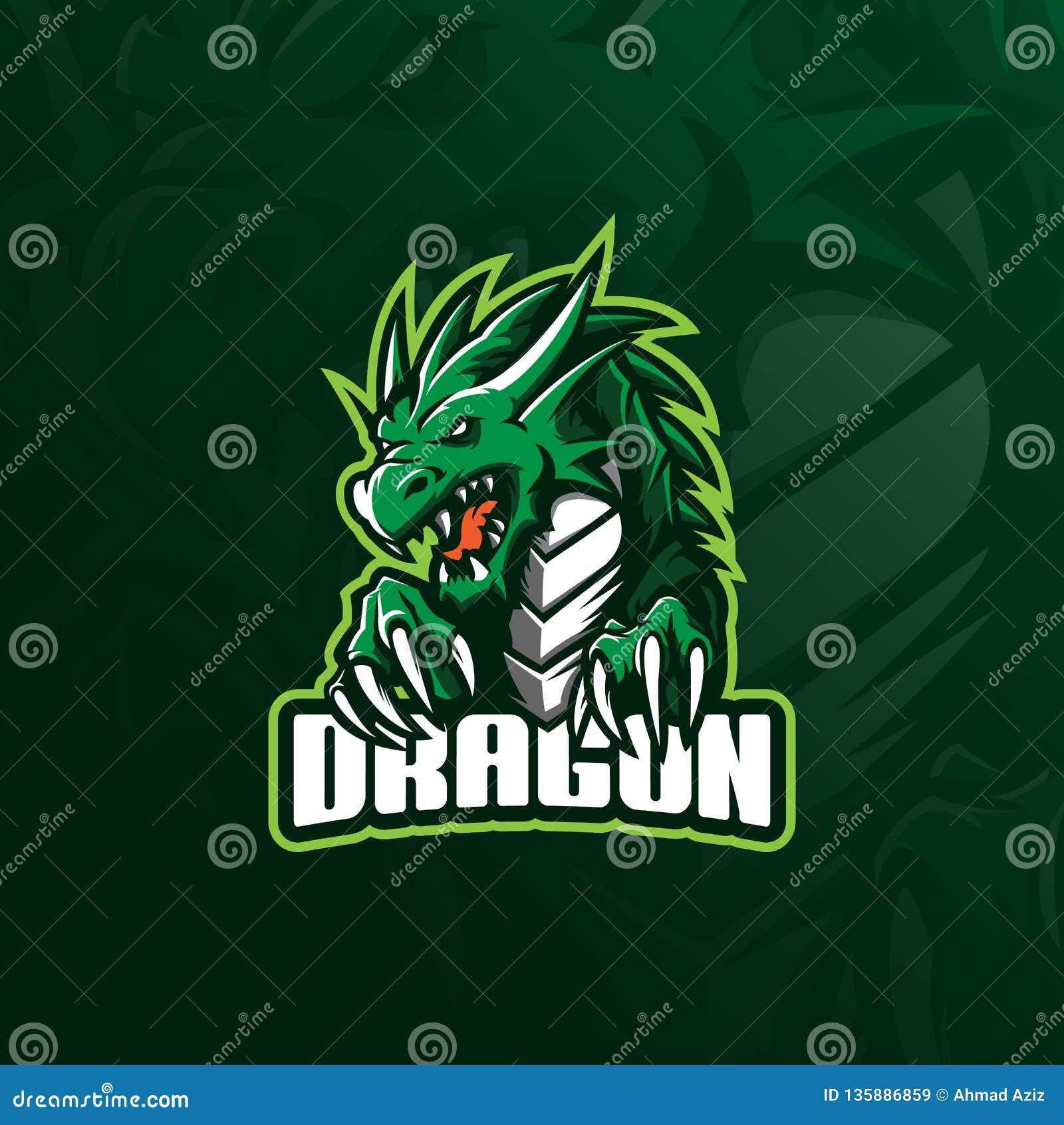 Vetor do projeto do logotipo da mascote do dragão com estilo moderno do conceito da ilustração para a impressão do crachá, do emb