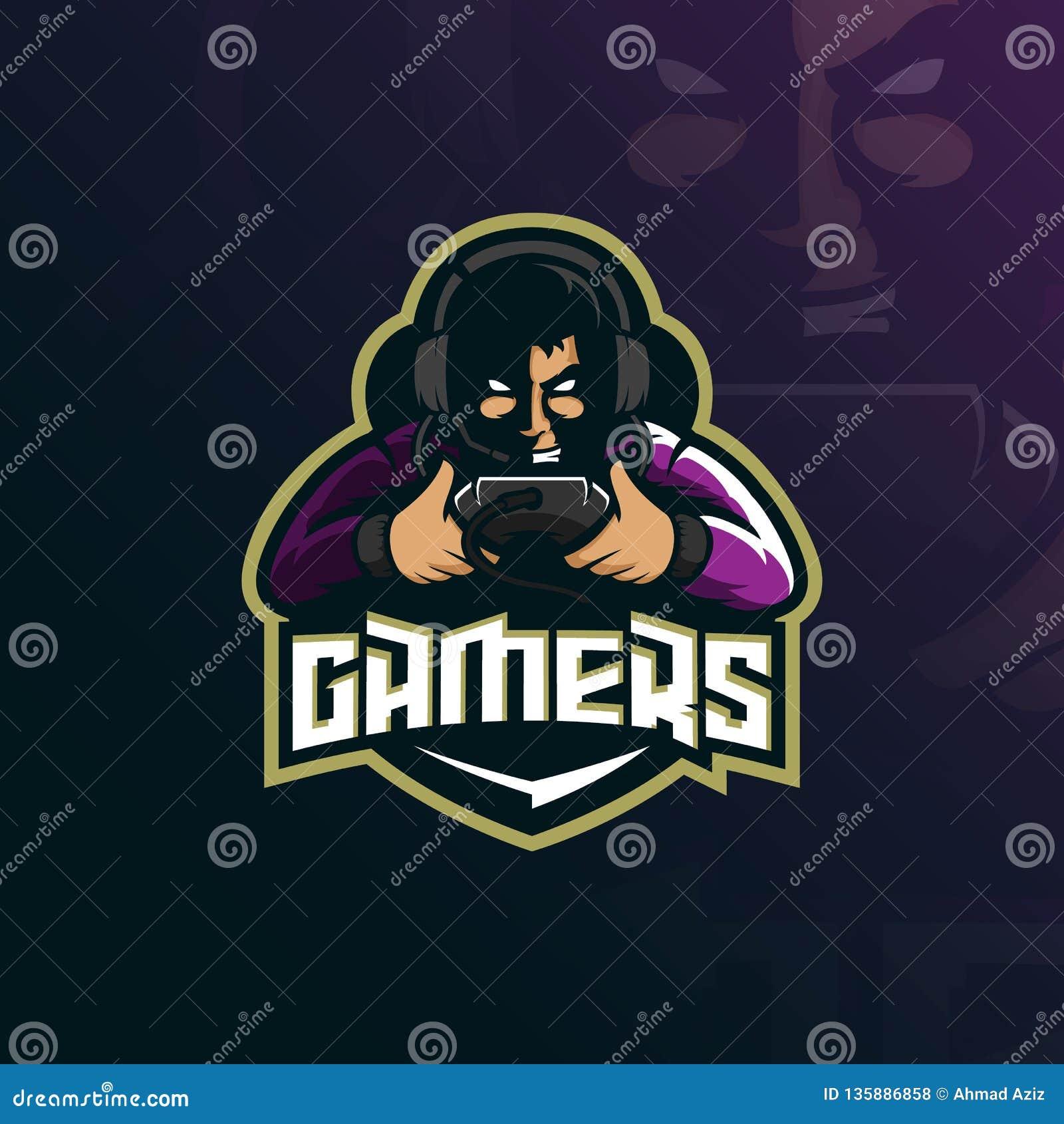 Vetor do projeto do logotipo da mascote do Gamer com estilo moderno do conceito da ilustração para a impressão do crachá, do embl