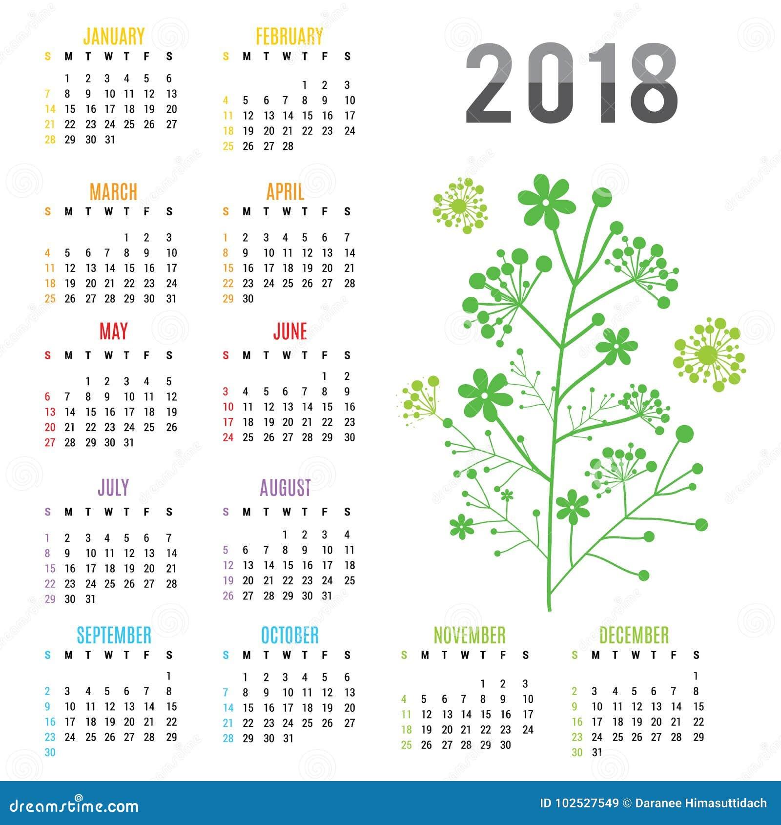 Vetor do ramo da flor do ano novo 2018 do calendário do planejador