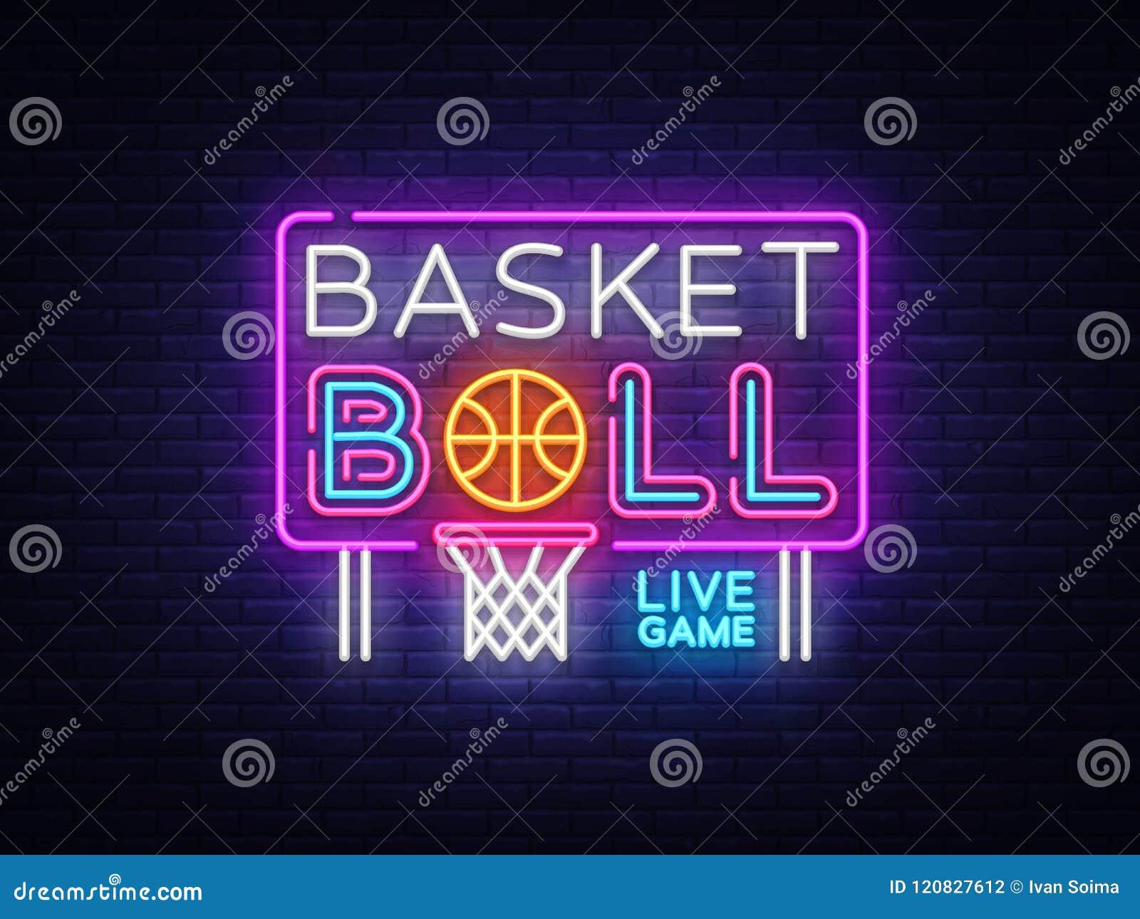 Vetor do sinal de néon do basquetebol Sinal de néon do molde do projeto do basquetebol, bandeira clara, quadro indicador de néon,