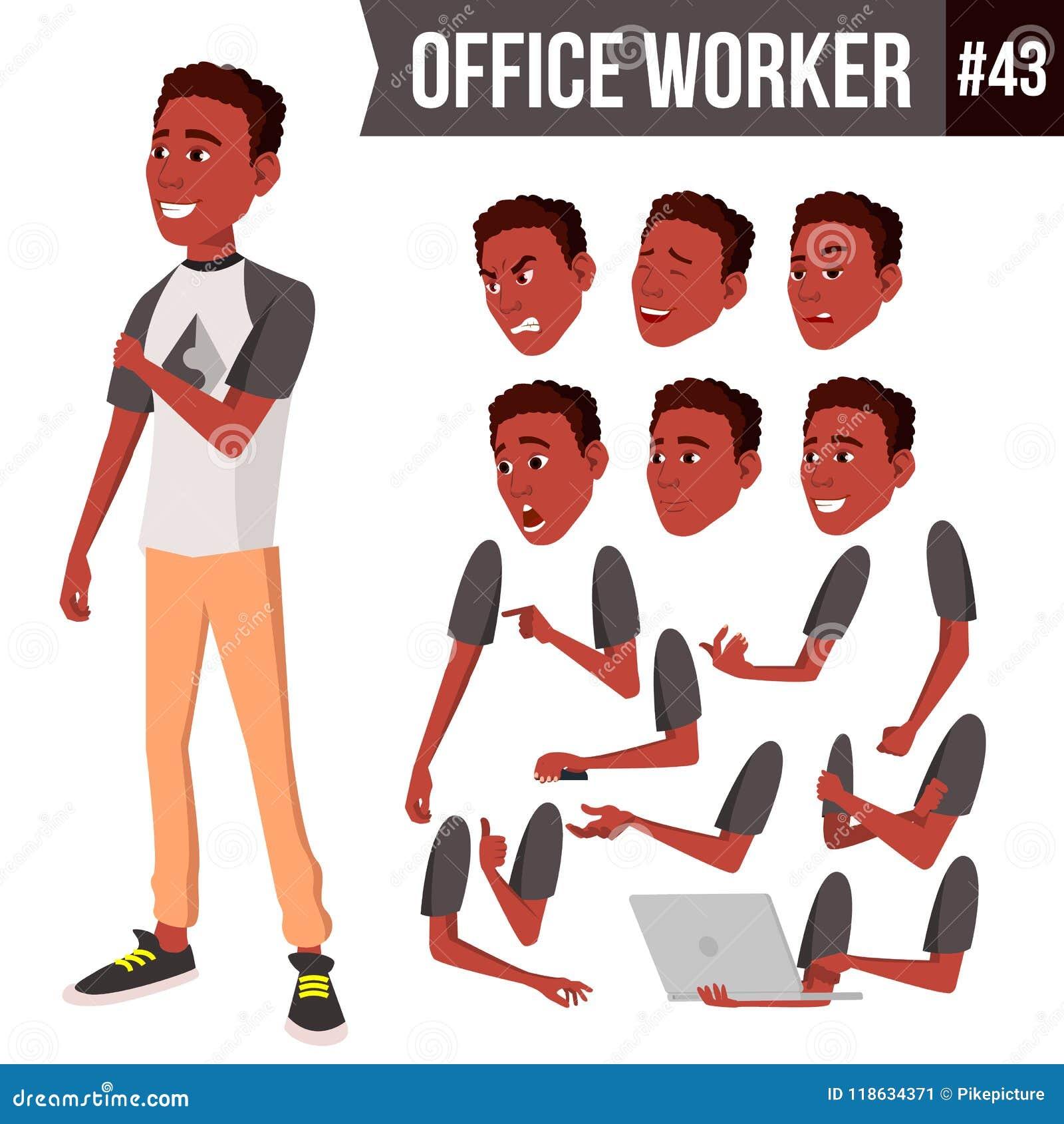 Vetor do trabalhador de escritório Emoções da cara, africano, preto Vários gestos Grupo da criação da animação Pessoa do negócio