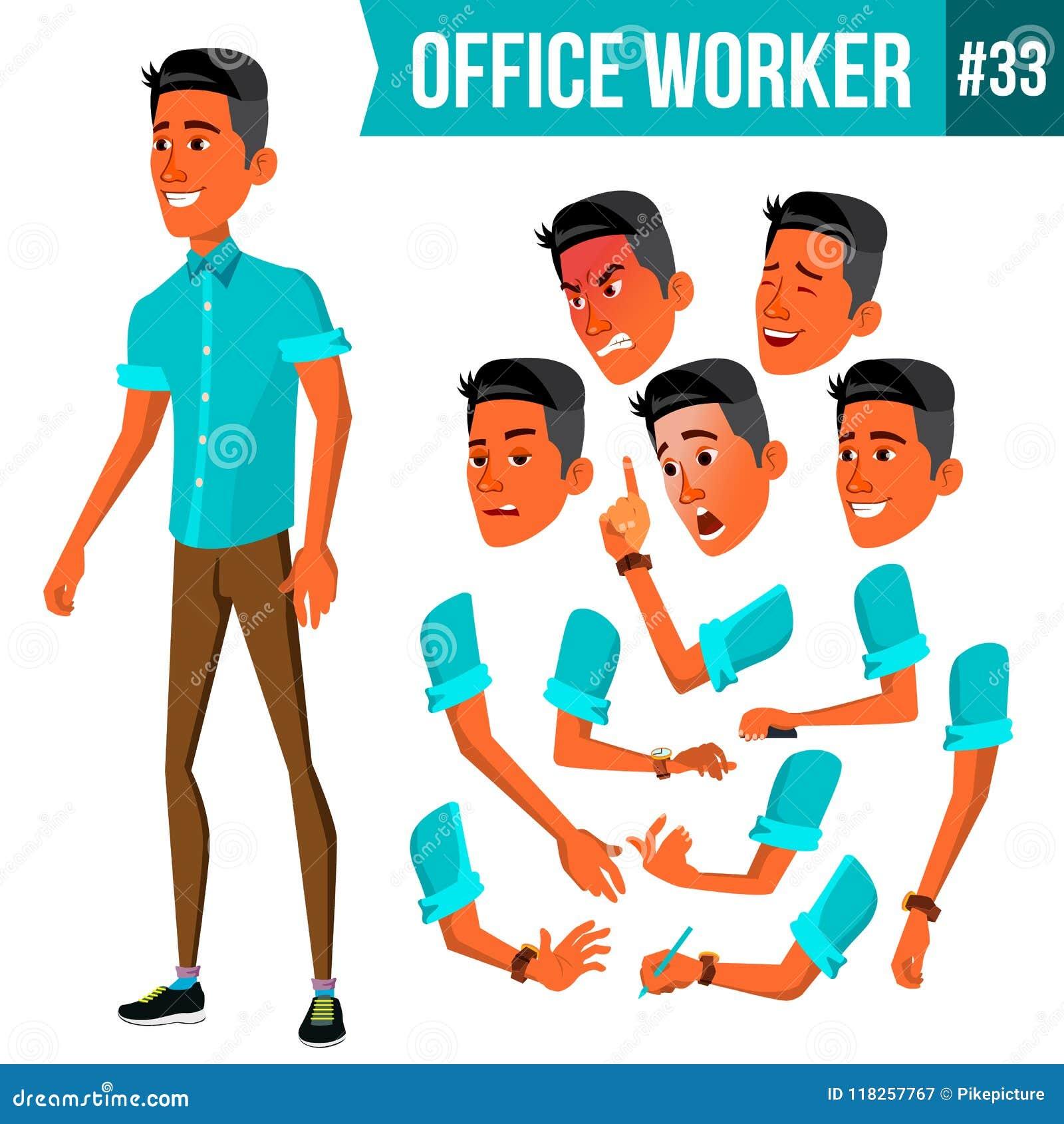 Vetor do trabalhador de escritório Emoções da cara, vários gestos animation Homem de negócios Human Empregado moderno do armário,