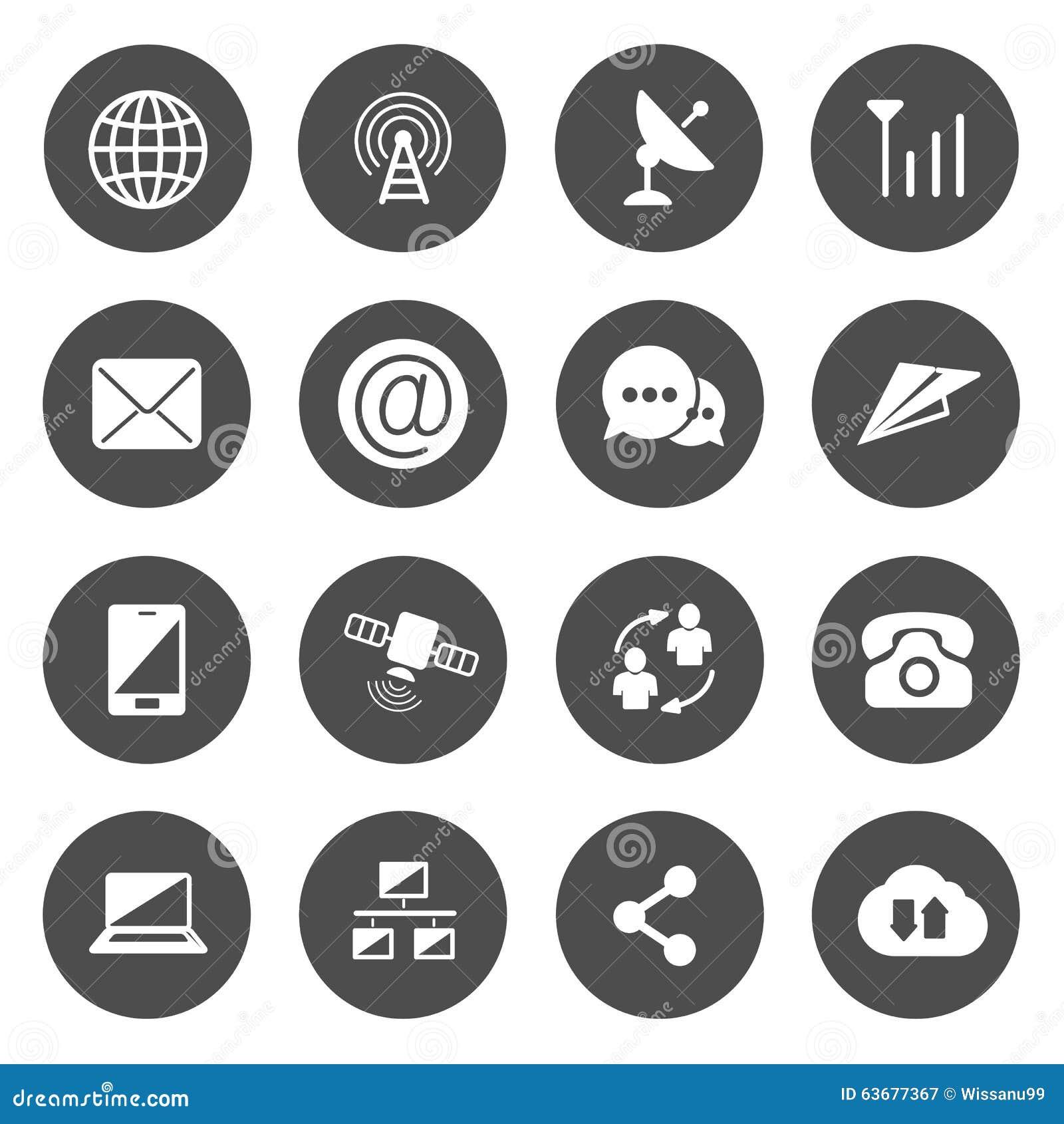 Vetor dos ícones das comunicações