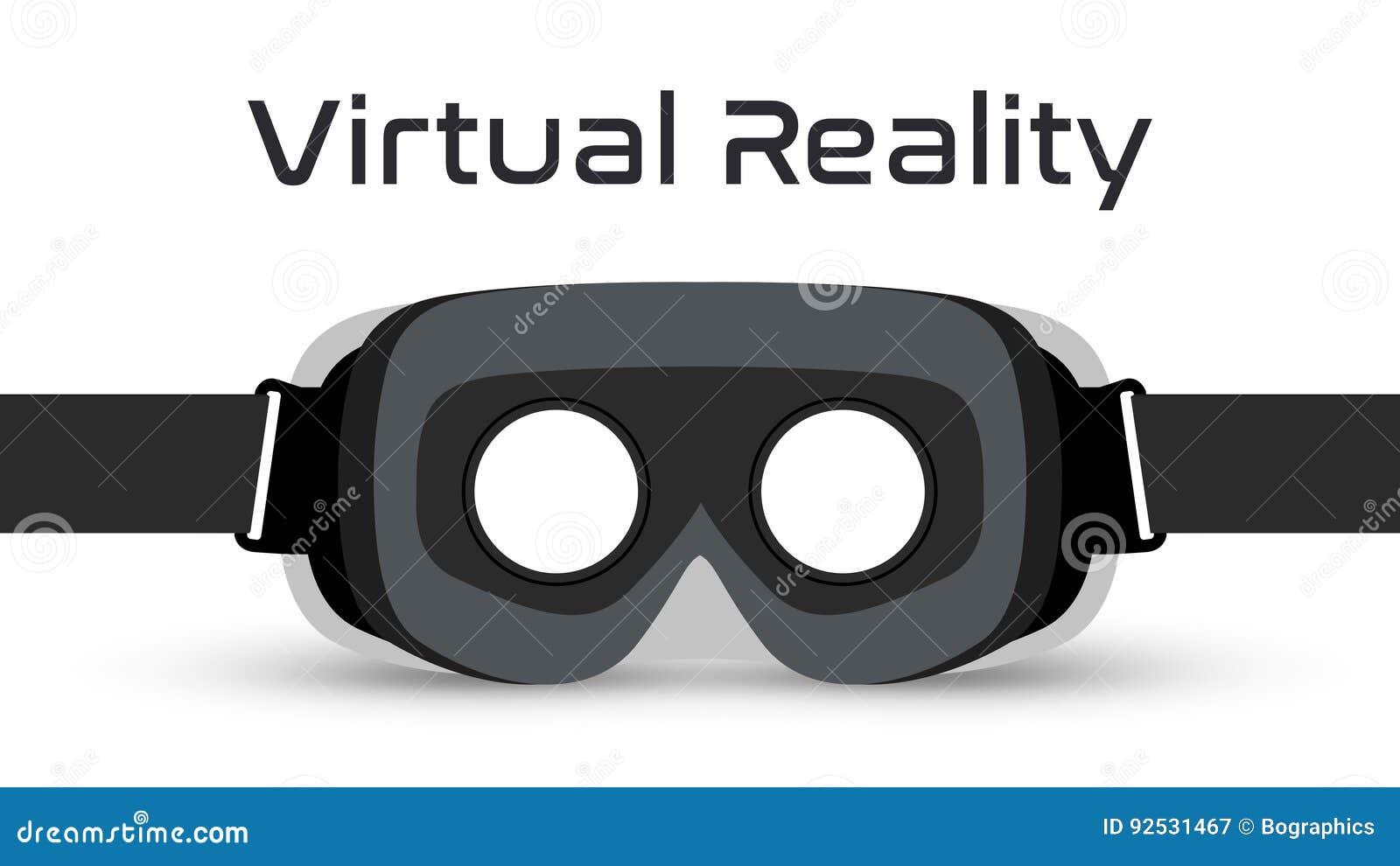 Vetor dos auriculares dos óculos de proteção VR da realidade virtual
