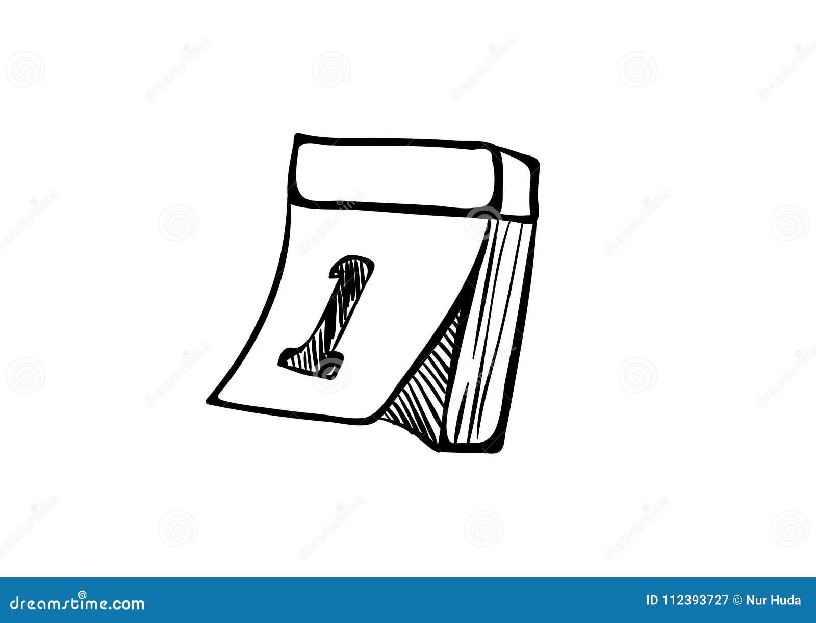 Vetor E Ilustracao Dos Desenhos Animados Do Calendario Preto E