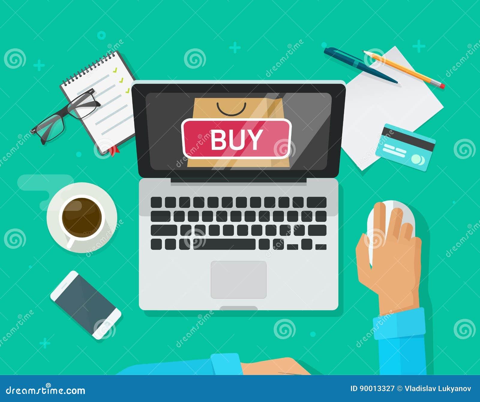 Vetor em linha do conceito da compra, laptop liso do estilo e compra da pessoa do cliente da loja do Internet do comércio eletrón