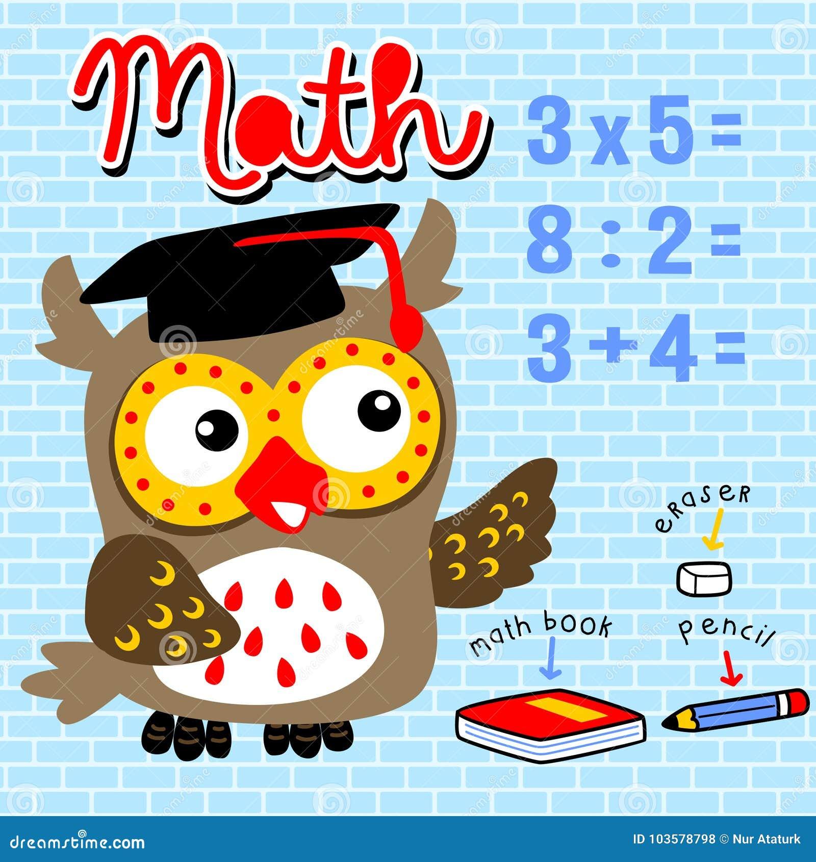 7a31aa3708 Uma coruja engraçada na matemática de ensino da sala de classe, ilustração  dos desenhos animados do vetor, nenhuma malha, vetor em EPS 10