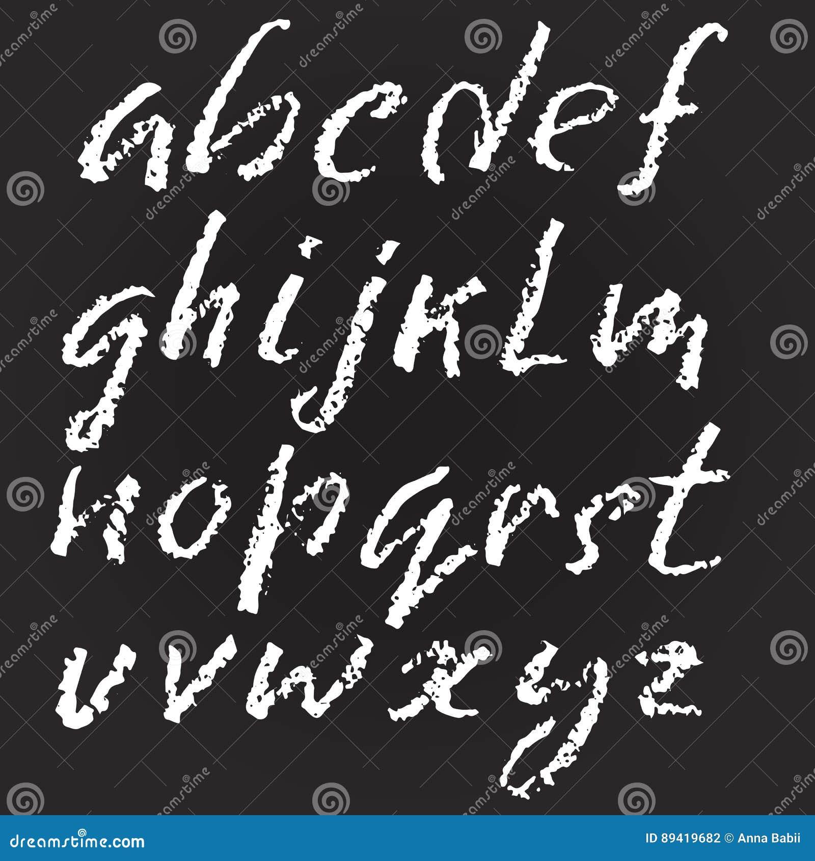 Vetor escrito à mão alfabeto riscado Textura de imitação do giz Mão moderna alfabeto tirado Letras isoladas Vetor
