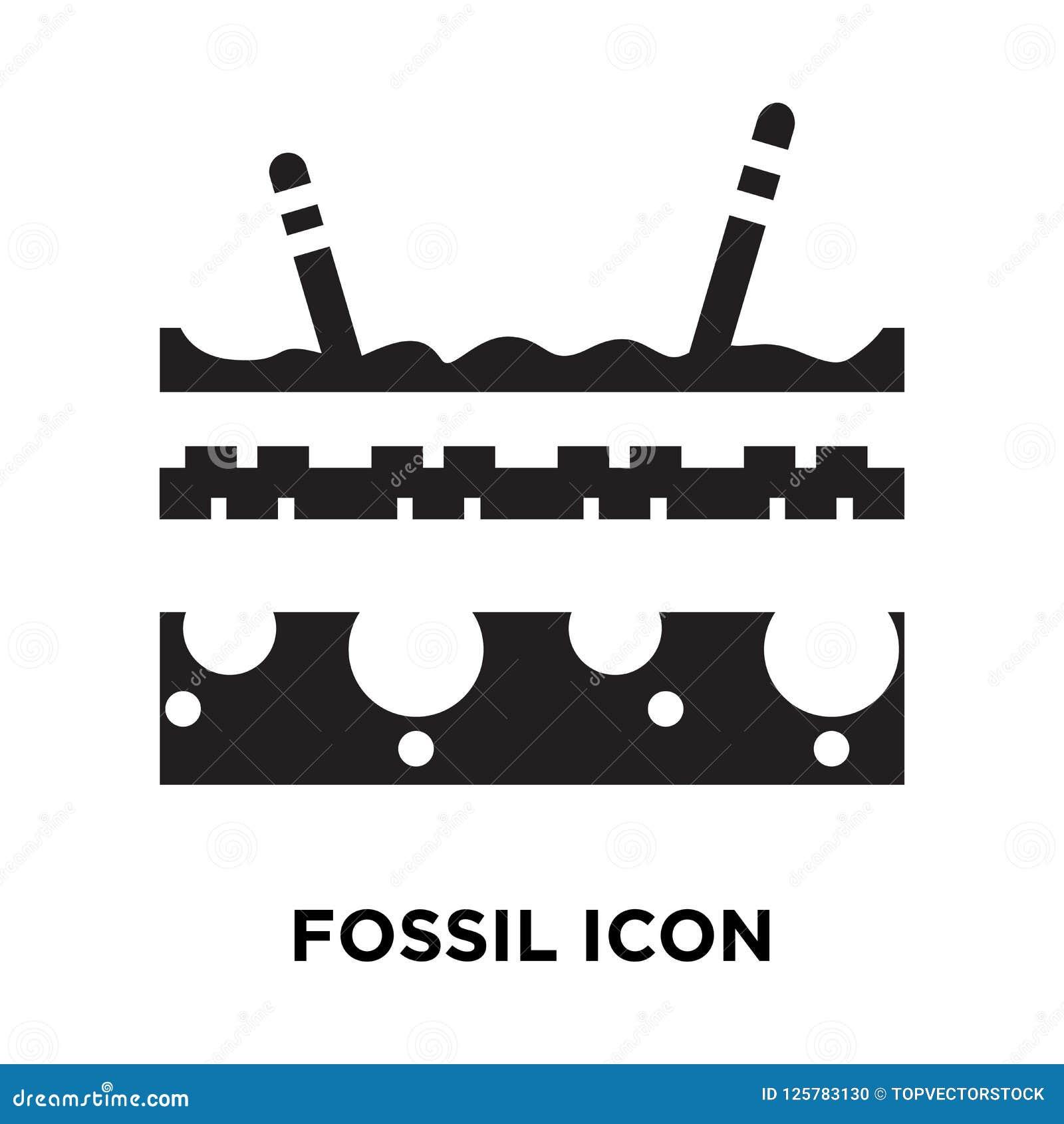 Vetor fóssil do ícone isolado no fundo branco, conceito do logotipo de
