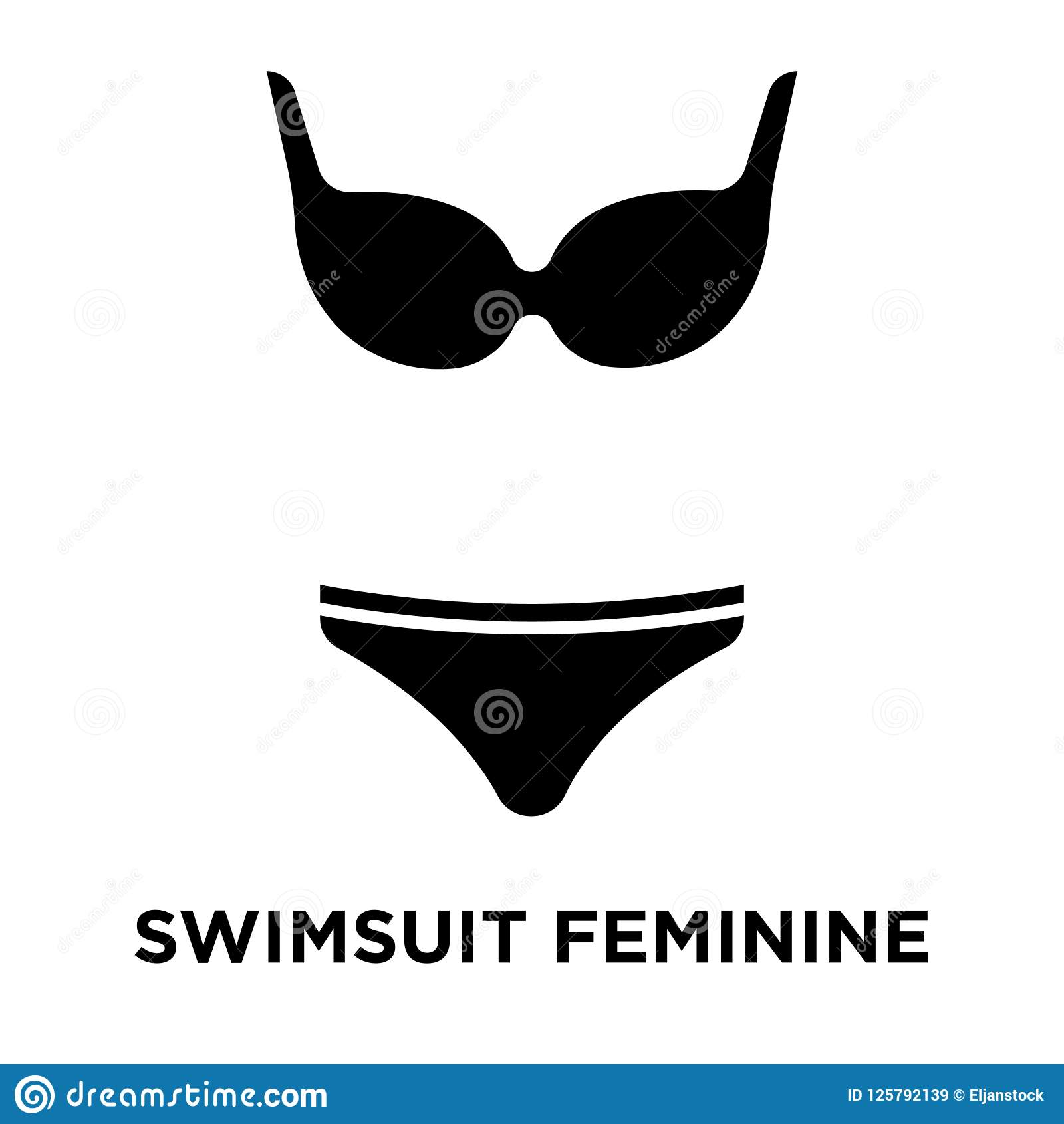 dc2ca2399 Vetor Feminino Do ícone Do Roupa De Banho Isolado No Fundo Branco ...