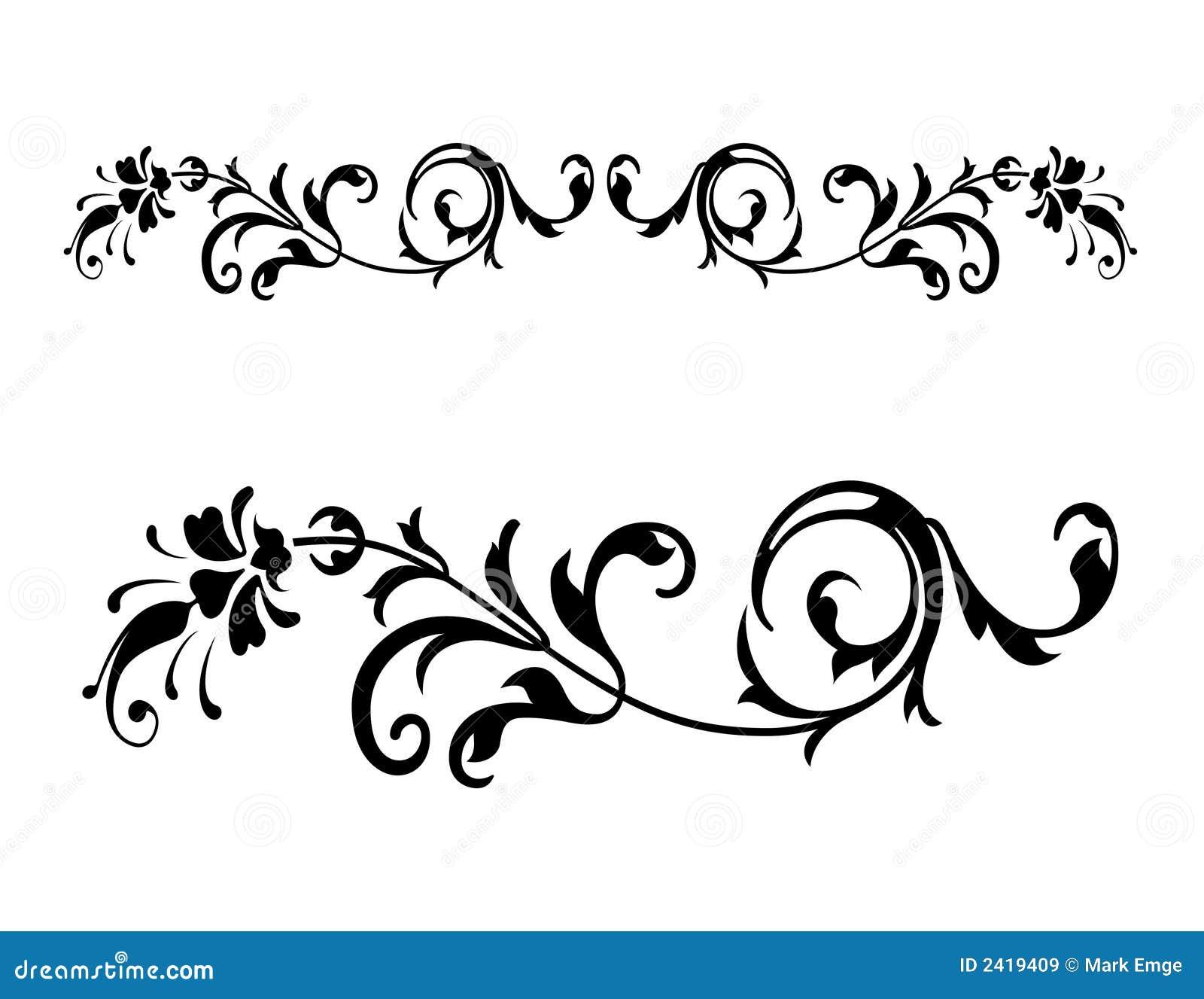 Line Art Text : Vetor floral do renascimento ilustração
