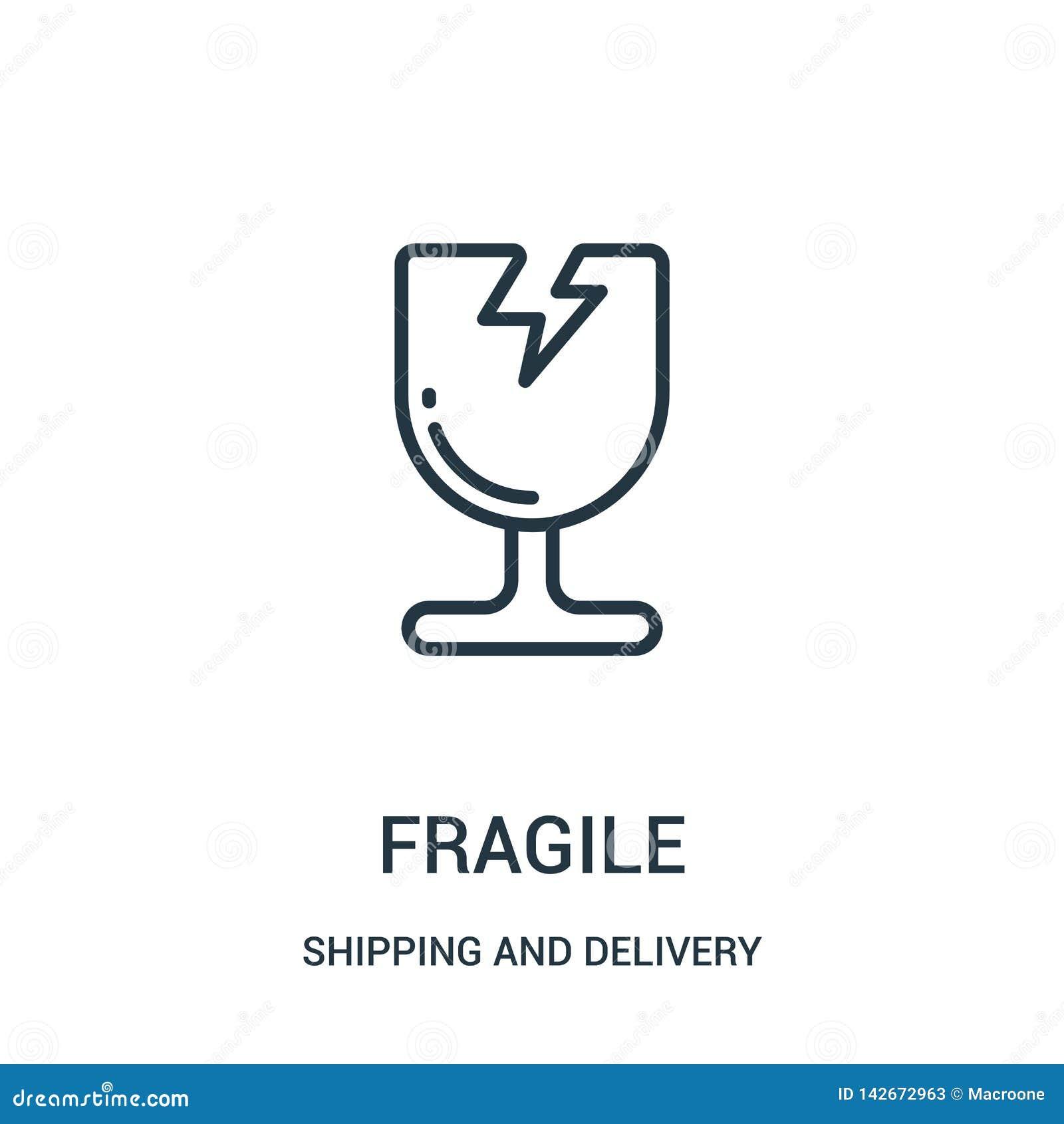 Vetor frágil do ícone da coleção do transporte e da entrega Linha fina ilustração frágil do vetor do ícone do esboço r