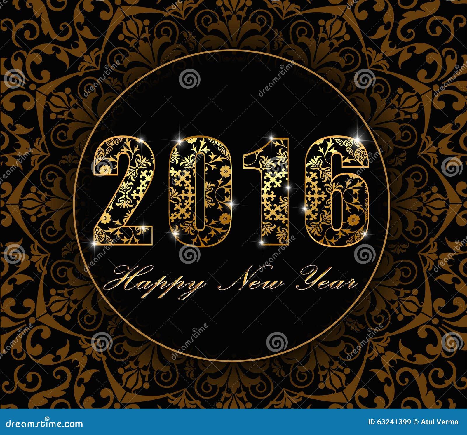 Vetor - 2016 fundo liso do ano novo feliz 2016 com estilo floral do cartão do projeto do teste padrão