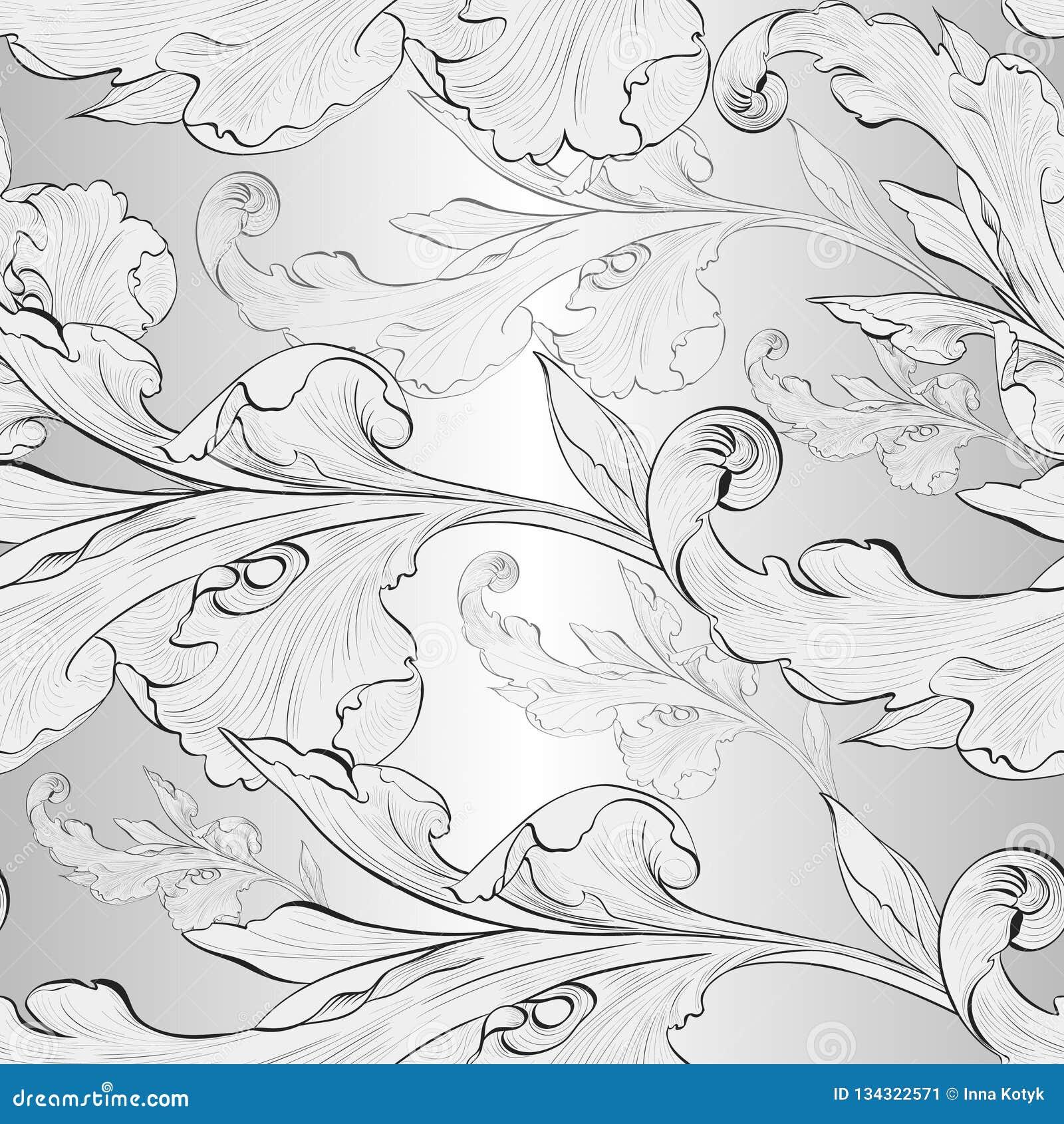 Vetor Fundo sem emenda Um ramo é um elemento da planta wallpaper Composição decorativa Use materiais impressos, sinais, cartazes