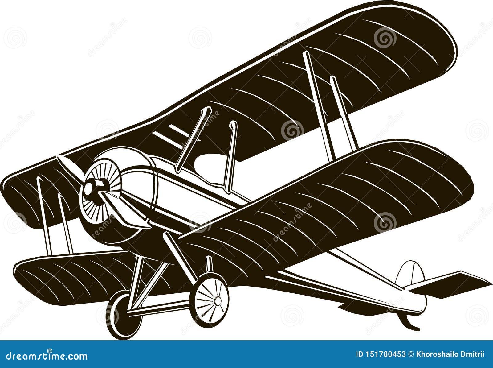 Vetor gráfico preto monocromático do clipart do avião retro do biplano