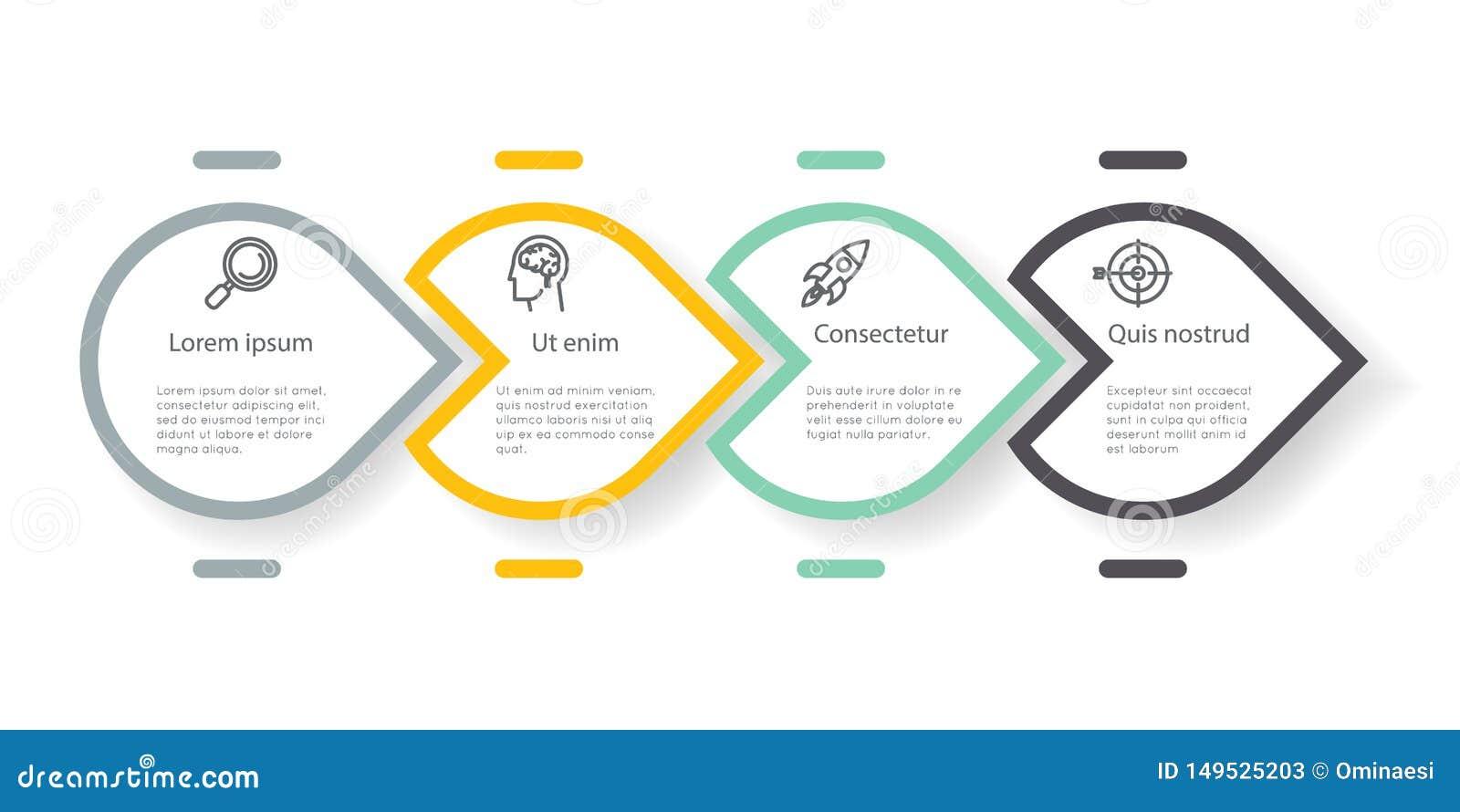 Vetor infographic do gráfico da informação da disposição dos trabalhos dos ícones das etapas das opções da etiqueta da apresentaç