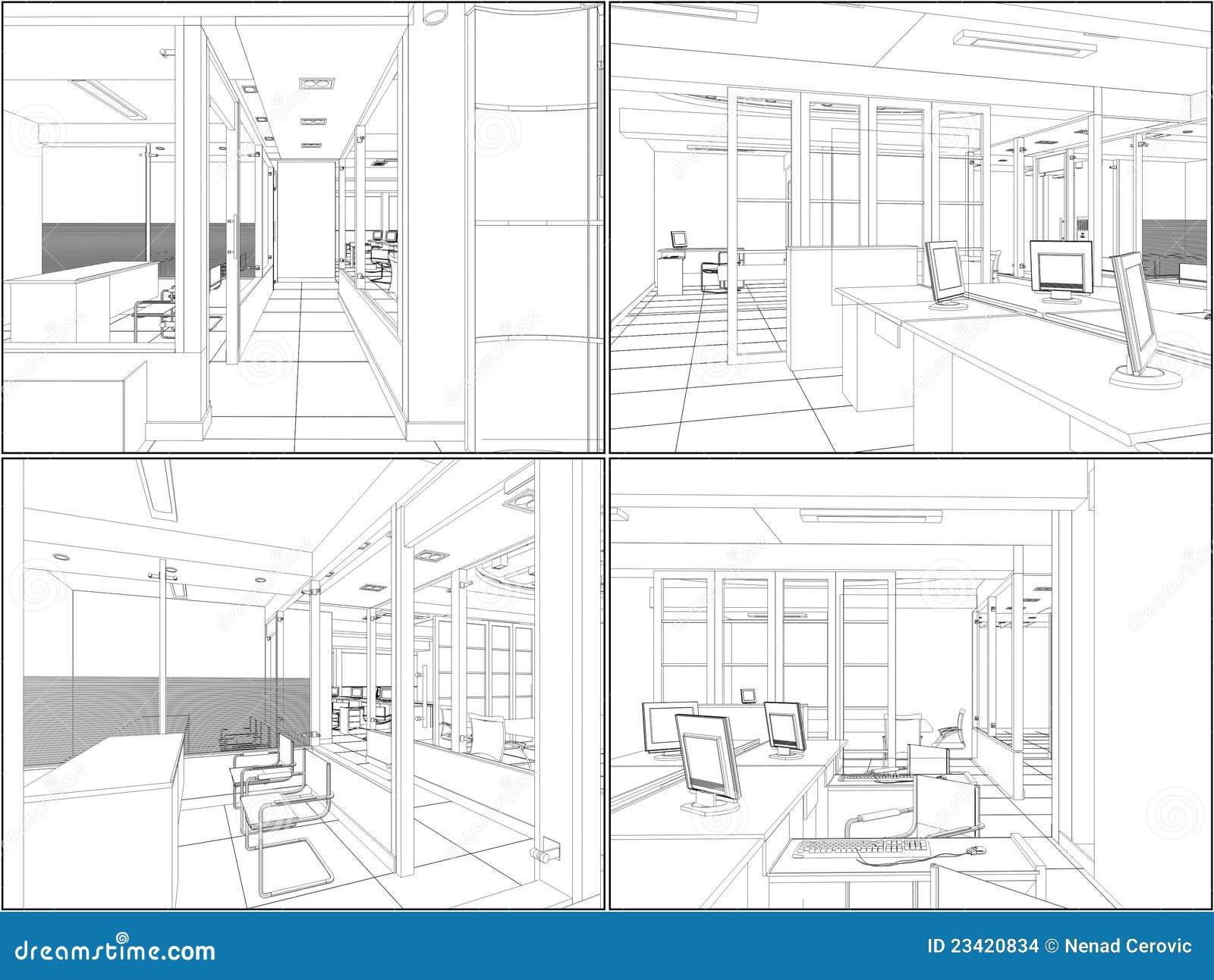 Vetor interior 06 dos quartos do escritório