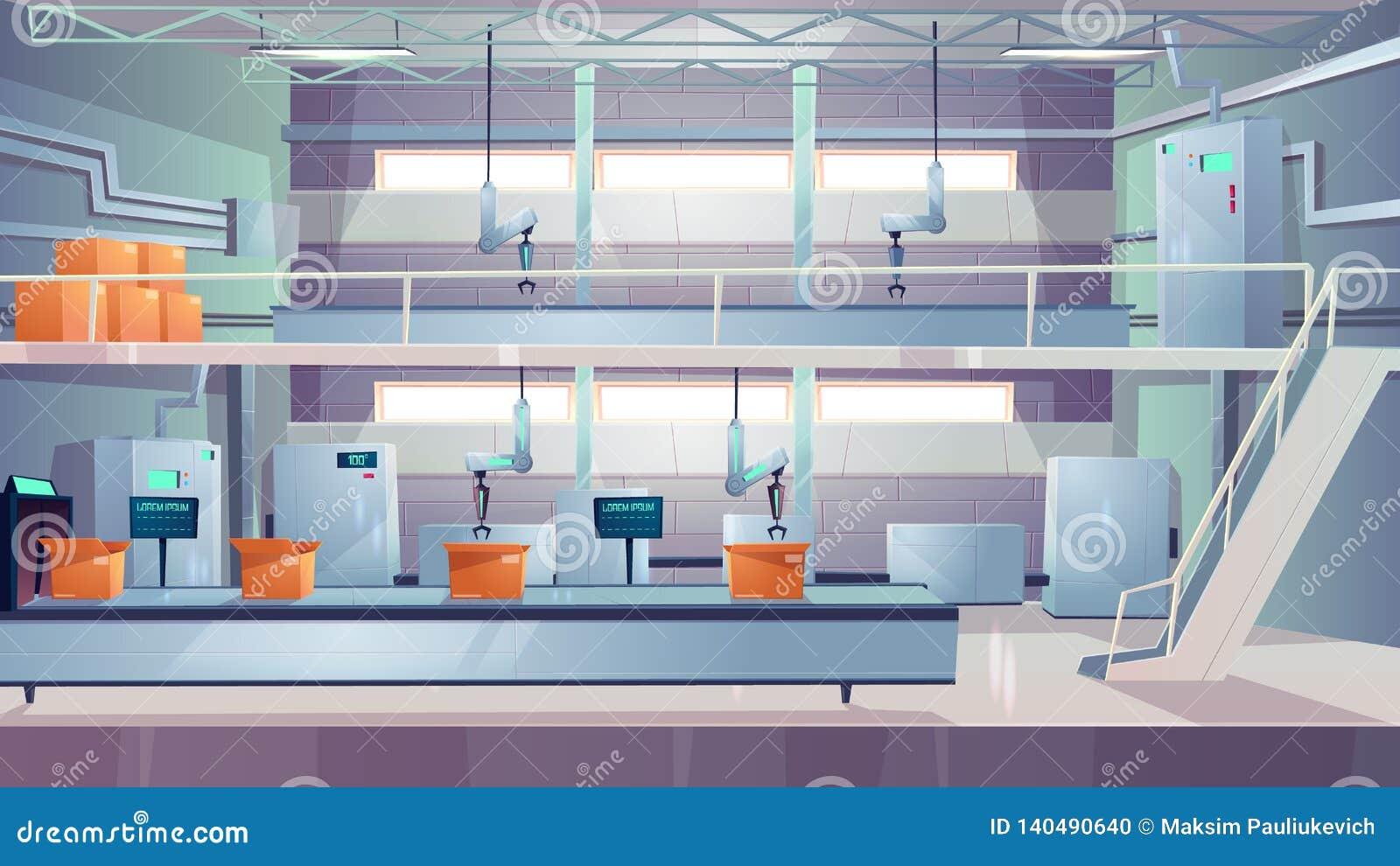 Vetor interior dos desenhos animados da planta de produção da indústria