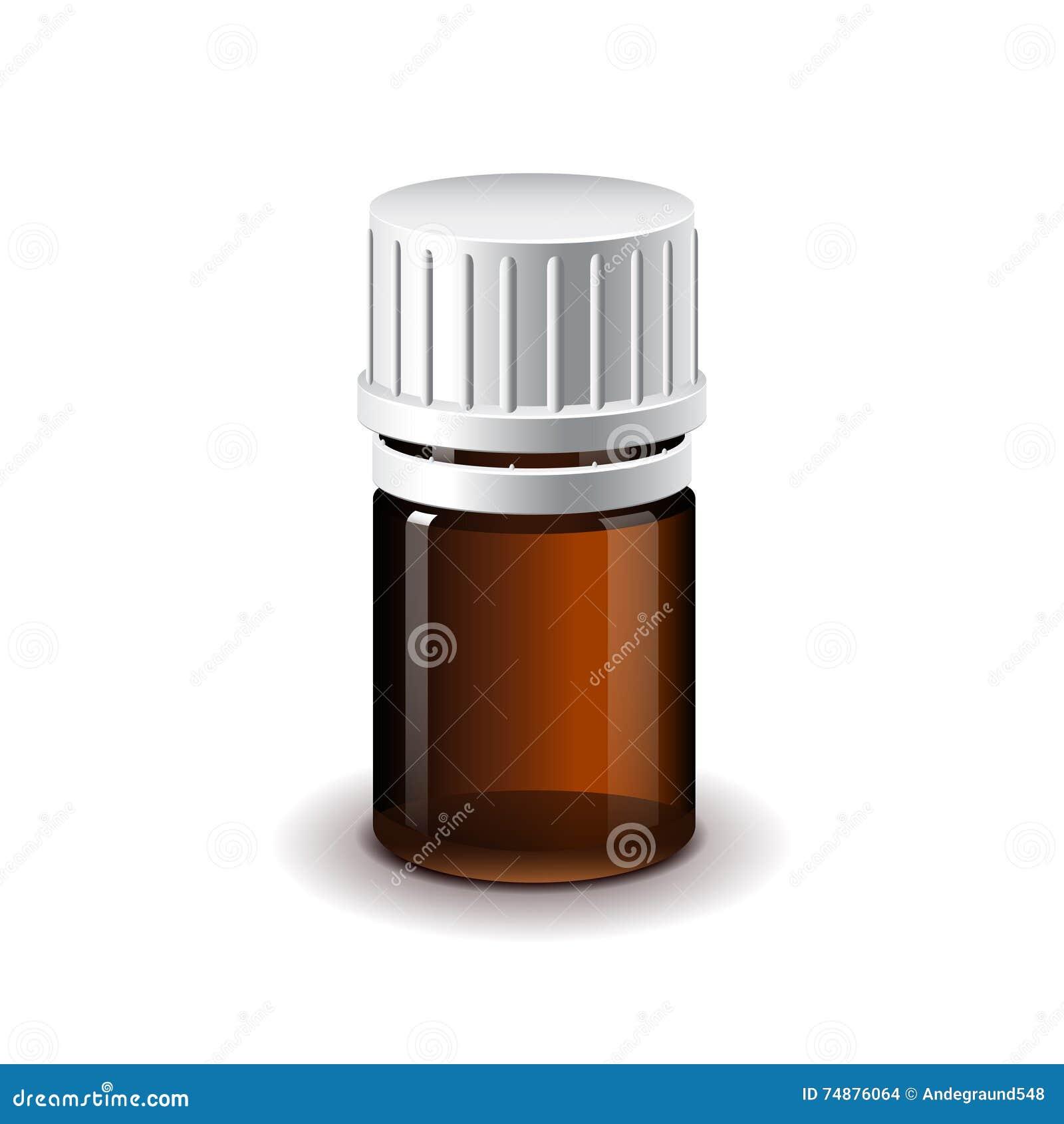 Vetor isolado escuro médico pequeno da garrafa de vidro