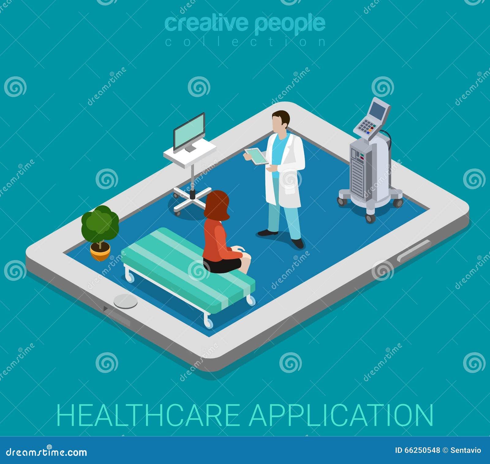Vetor isométrico liso 3d do app do hospital remoto móvel dos cuidados médicos