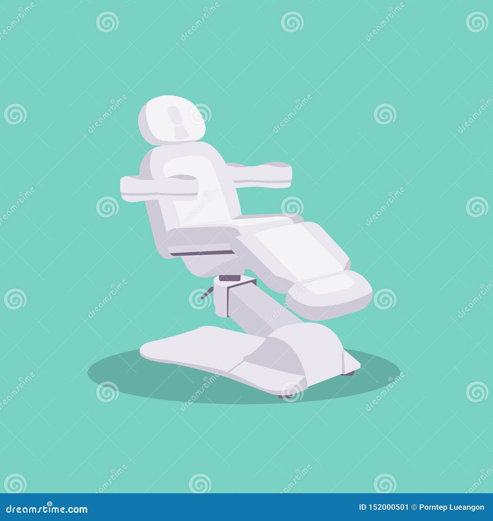 Vetor liso do projeto da clínica ajustável branca da cadeira