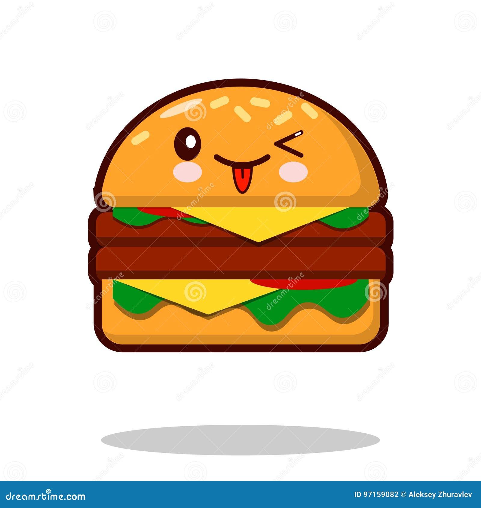 Vetor liso do projeto do fast food do kawaii do ícone do personagem de banda desenhada do Hamburger