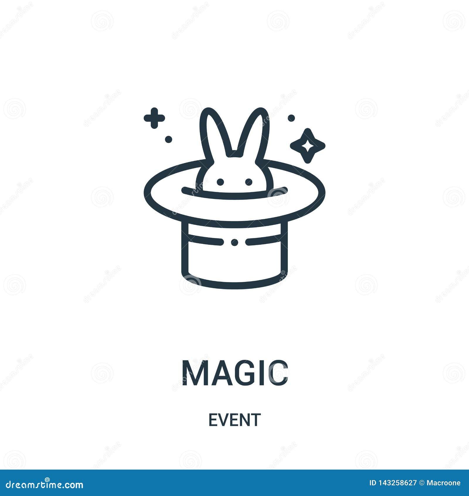 Vetor mágico do ícone da coleção do evento Linha fina ilustração mágica do vetor do ícone do esboço