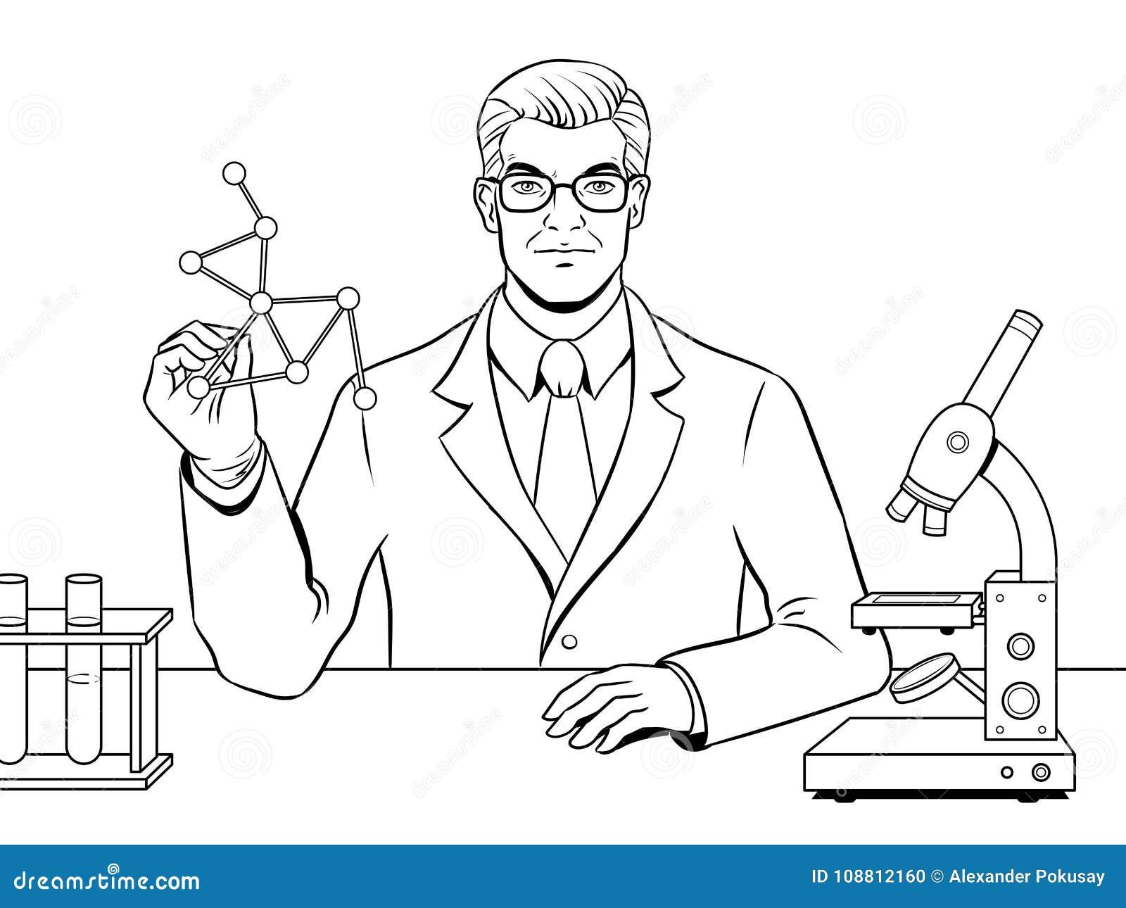Vetor Medico Do Livro Para Colorir Do Cientista Do Quimico