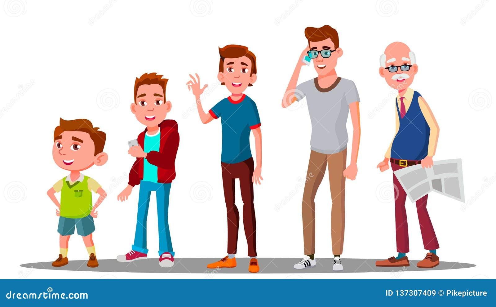 Vetor masculino da geração caucasiano Avô, pai, filho, neto, vetor do bebê Ilustração isolada