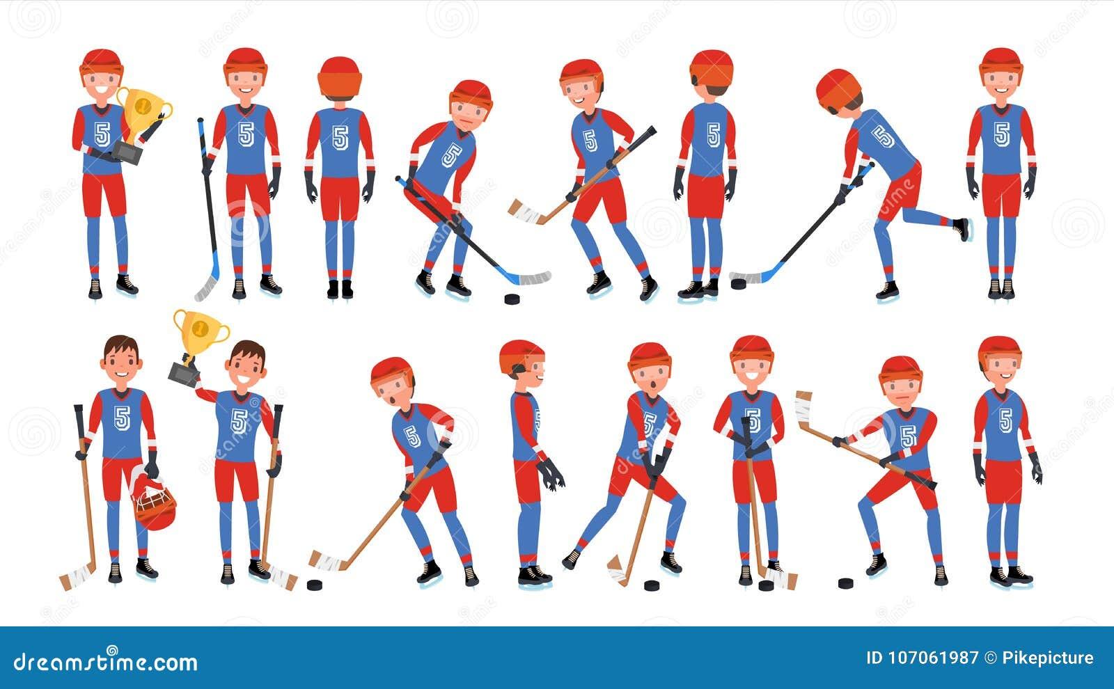 Vetor moderno do jogador de hóquei em gelo Poses diferentes Atleta na ação Ilustração lisa dos desenhos animados