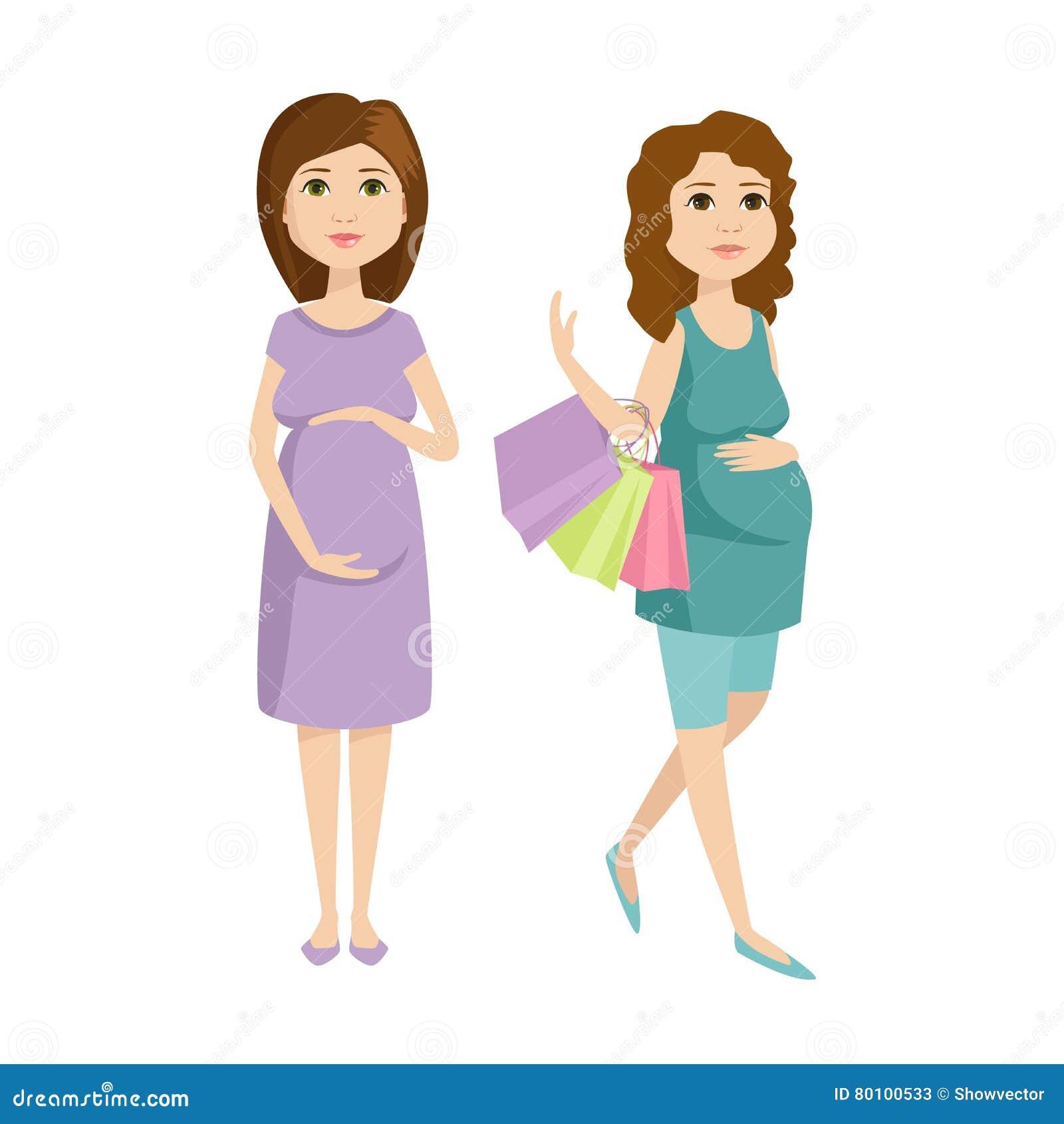 Vetor novo do caráter da mulher gravida