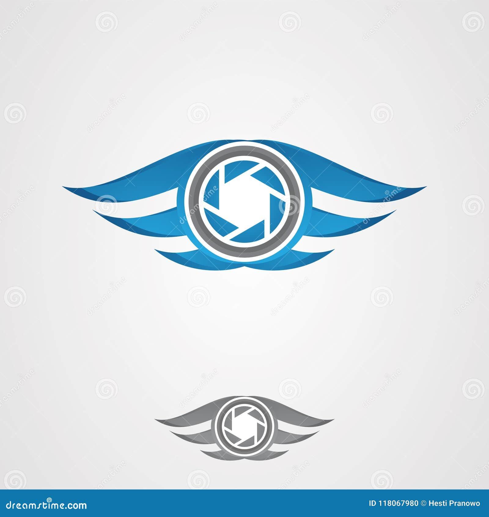 Vetor para o ícone da fotografia com a asa no azul da cor