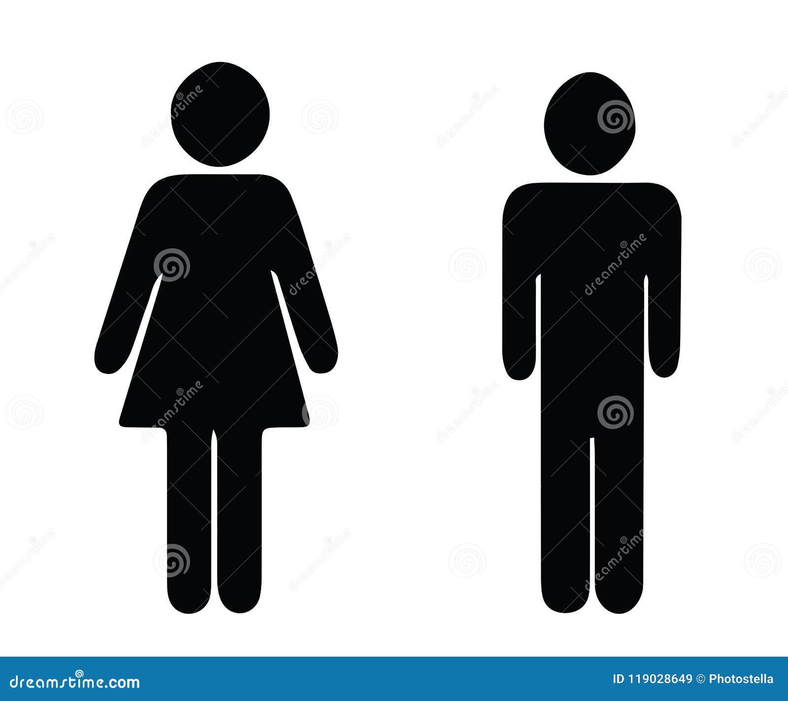 Vetor preto do homem e da mulher da silhueta - ícones do toalete do wc