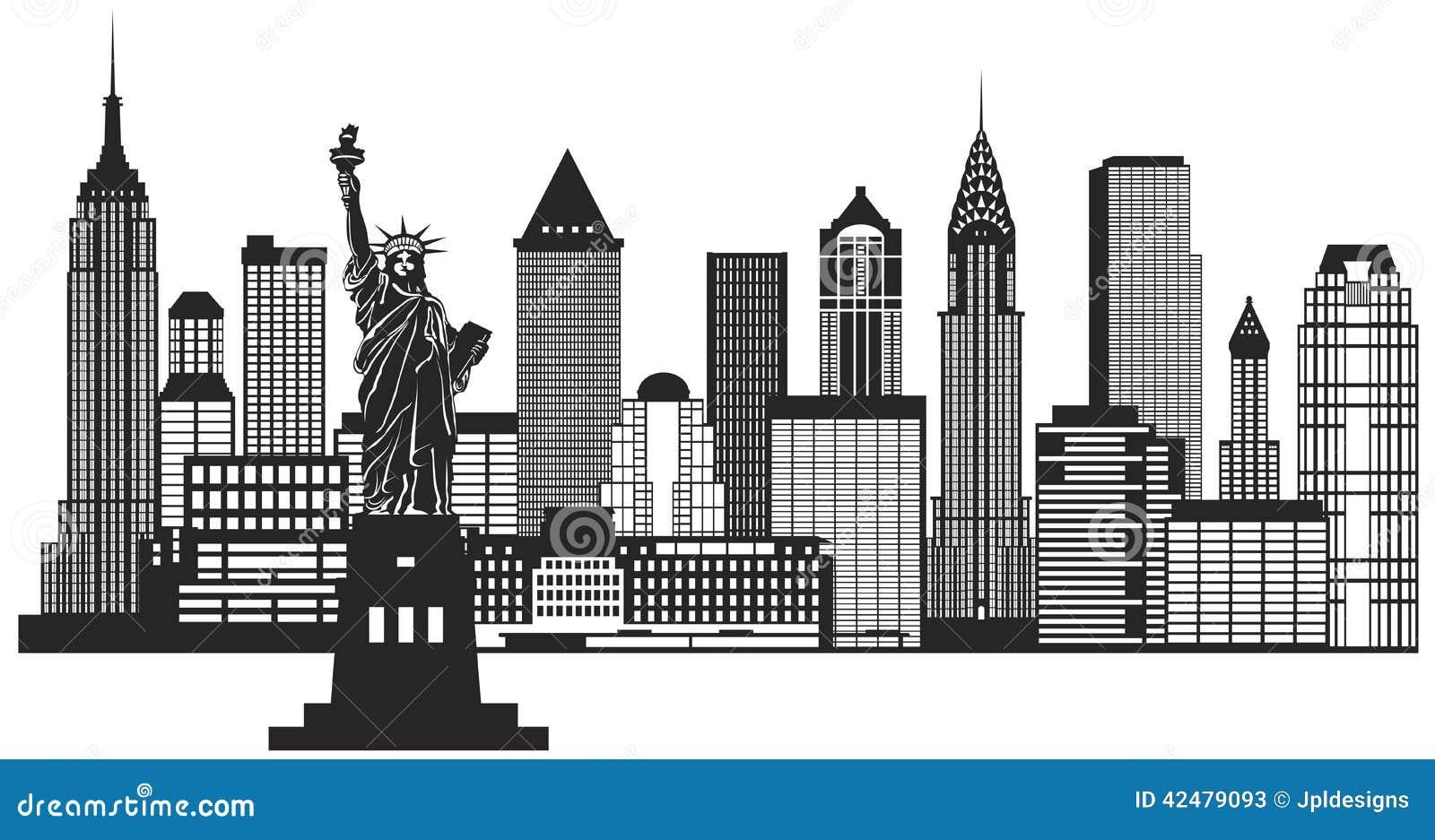 Vetor preto e branco da ilustração da skyline de New York City