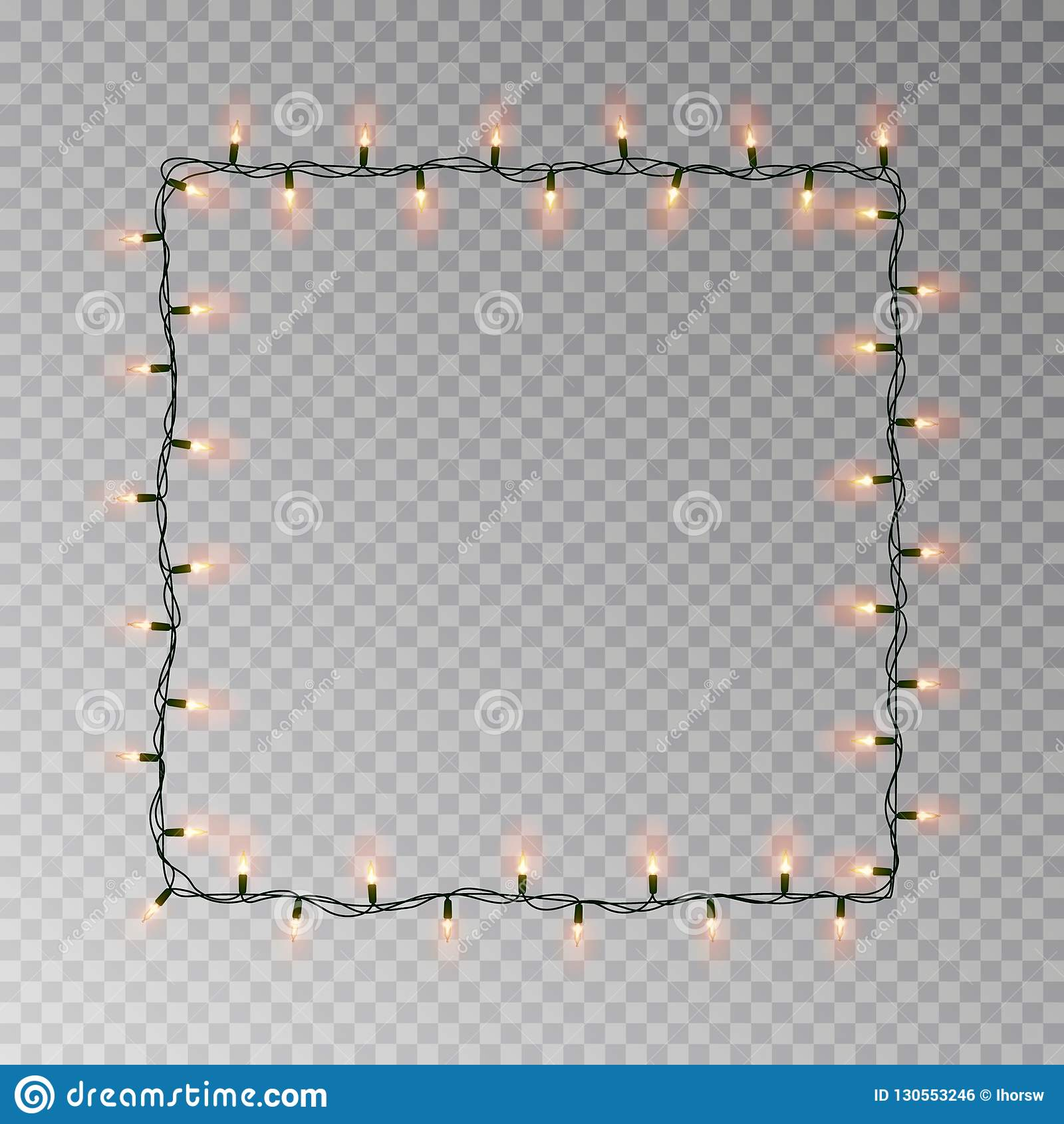Vetor quadrado das luzes de Natal, quadro claro da corda isolado no fundo escuro com espaço da cópia tran